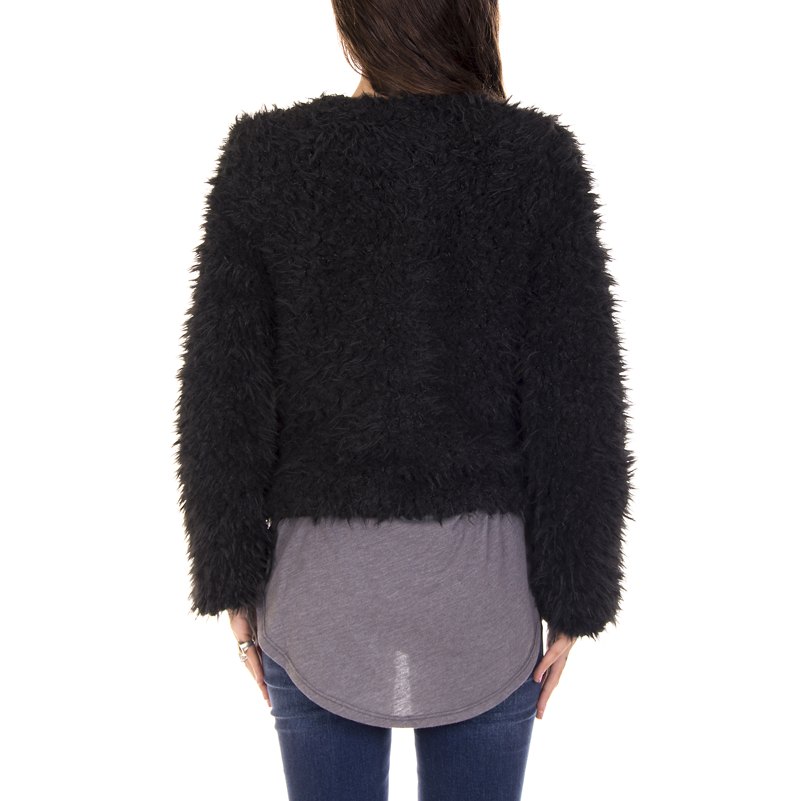 Vero Moda Giacche Jacket Donna Vmgia Jayla Short Fake Fur Jacket Black Beauty