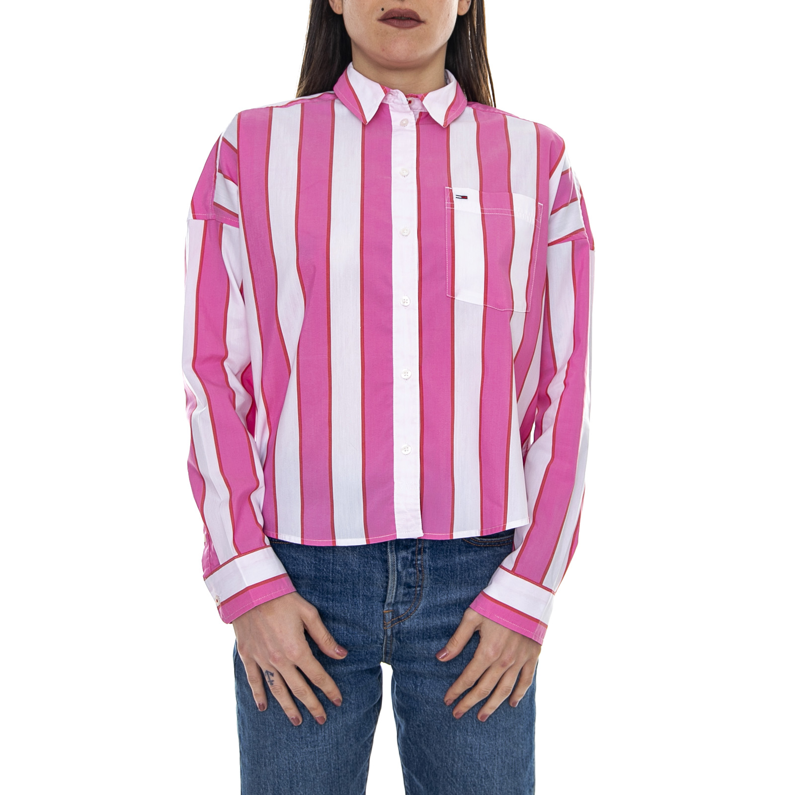 Camicia Donna Shopping Pink//Multicolor Tommy Hilfiger Tjw Cropped Boxy Shirt