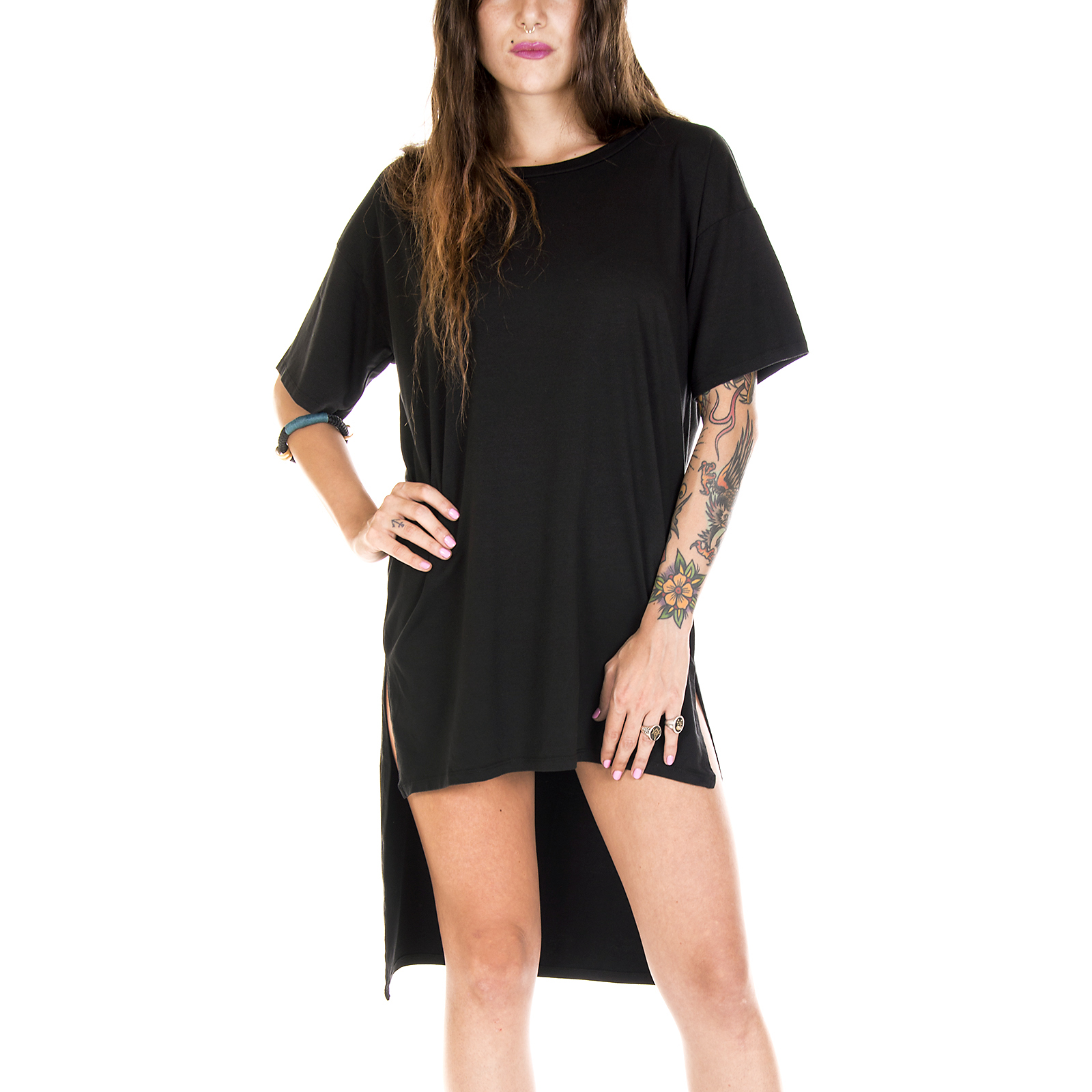Groceries Kleidung   Kleid Frau Epf-L65 Elaine Tunika-schwarz