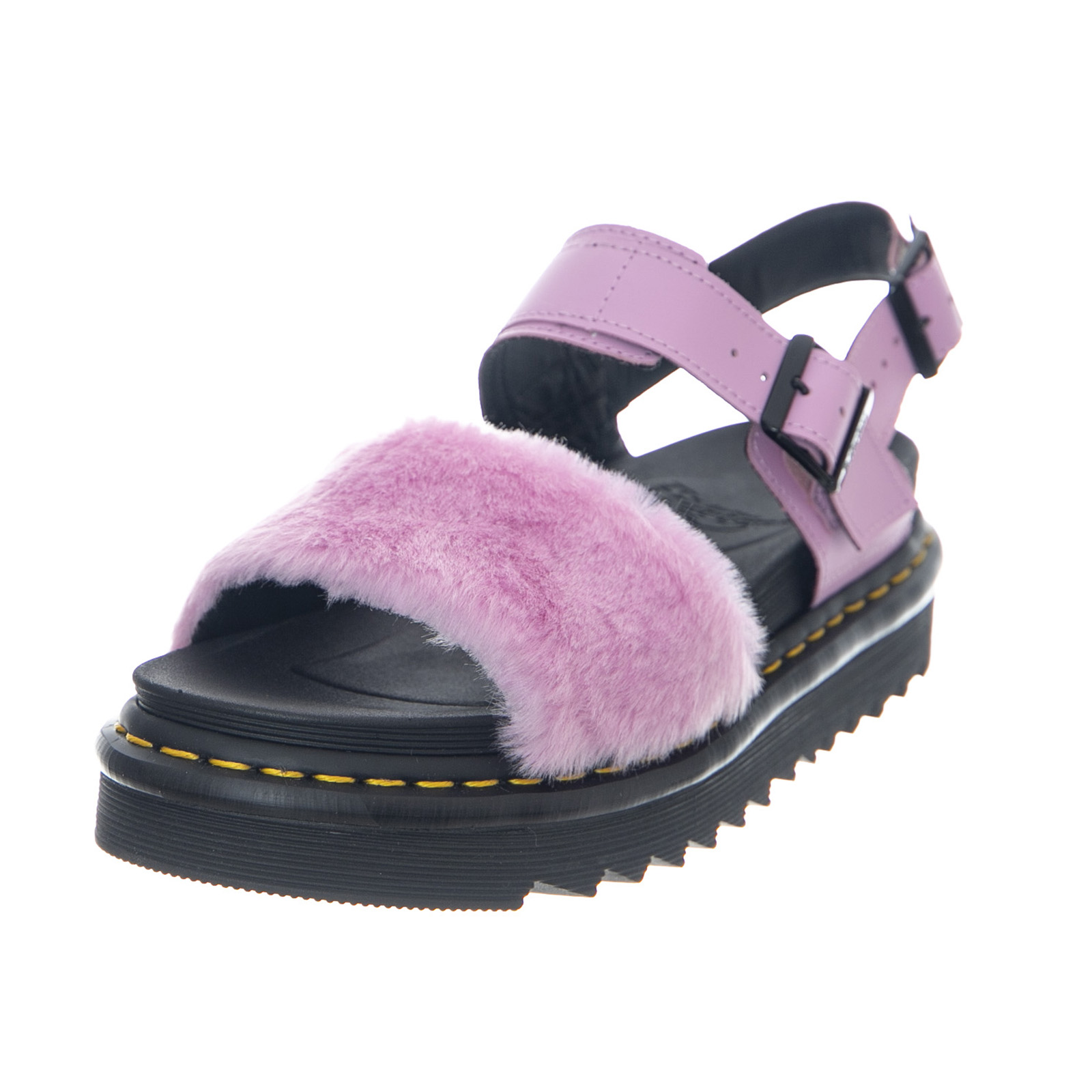 Details about Dr.Martens Voss Fluffy Mallow Pink Hydro Leather + Toby Ladies Sandals Pink