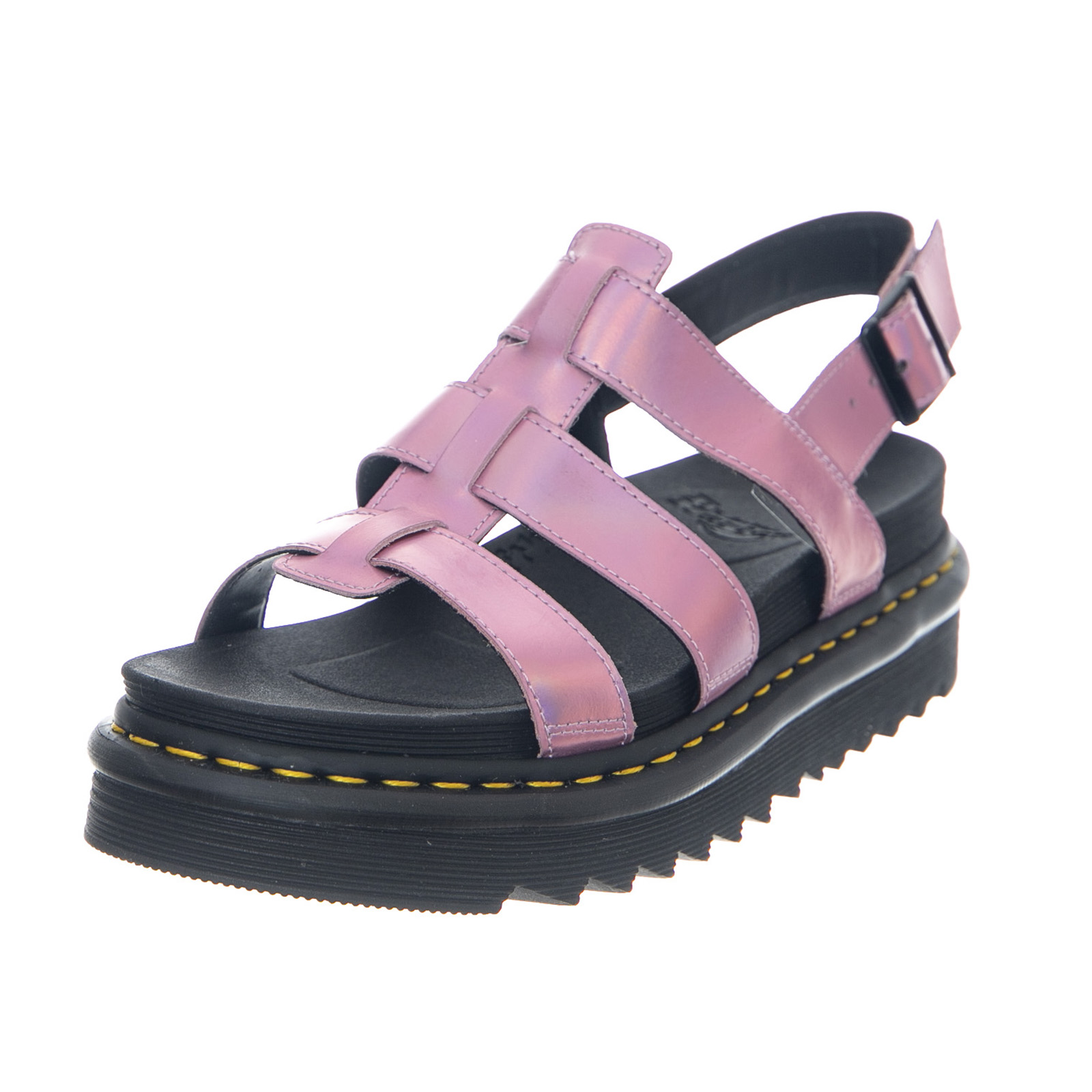 0f02411d3b2 Details about Dr.Martens Yelena Iced Metallic Mallow Pink Reflective  metallic Leather Sandals