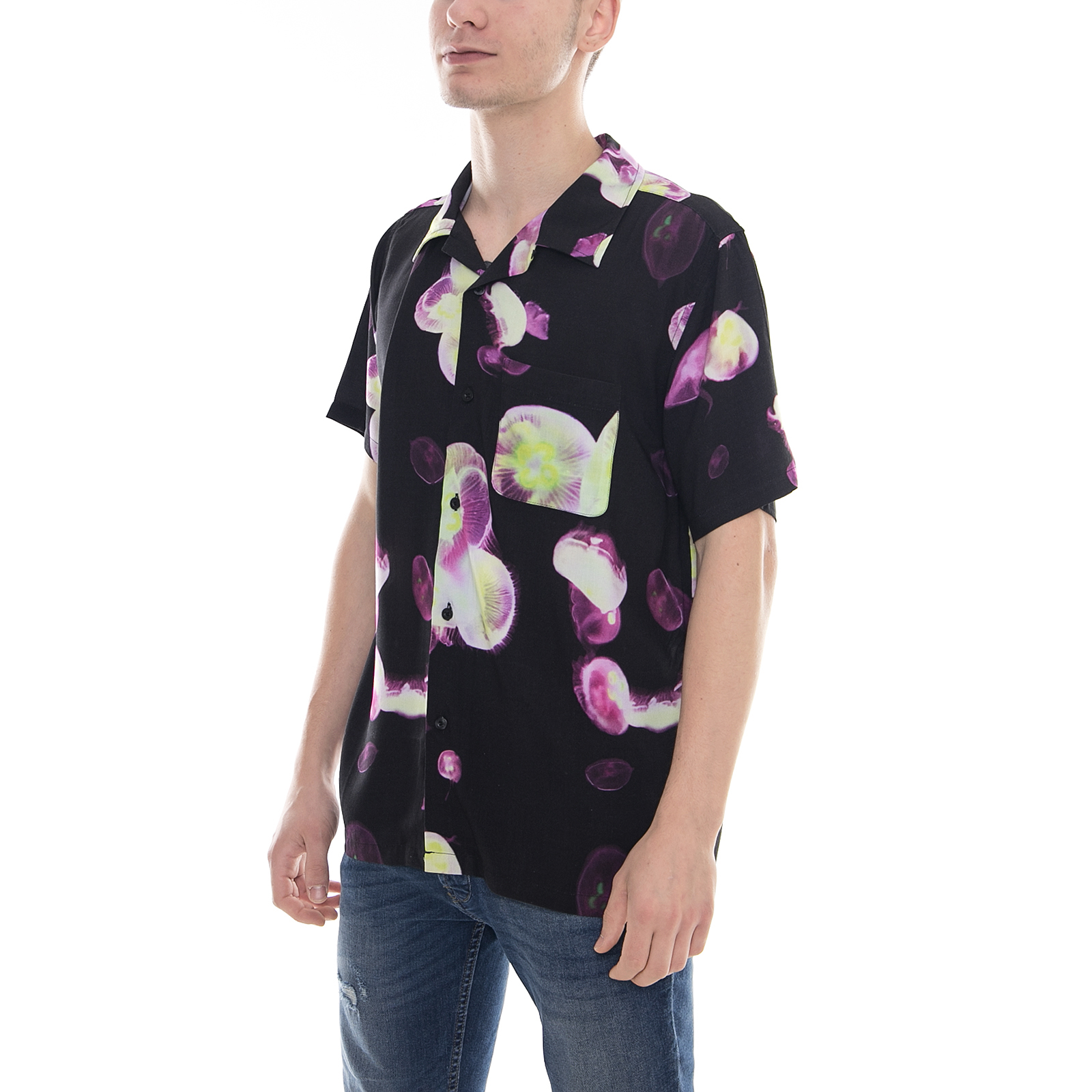 Black Shirt Stussy Camicie Multicolor Printed Fish Jelly fCwOPCvxnq