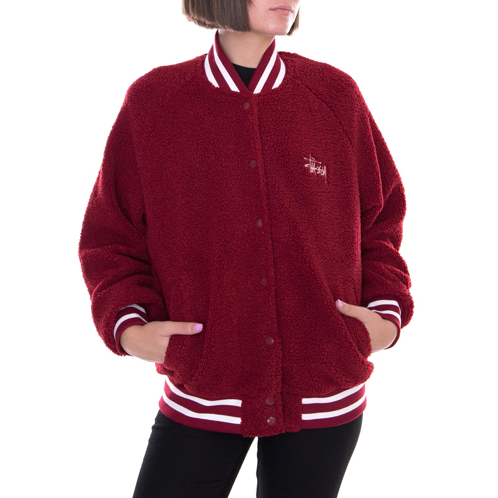 Details about Stussy jackets Micah Varsity Jacket Burgundy Bordeaux- show  original title