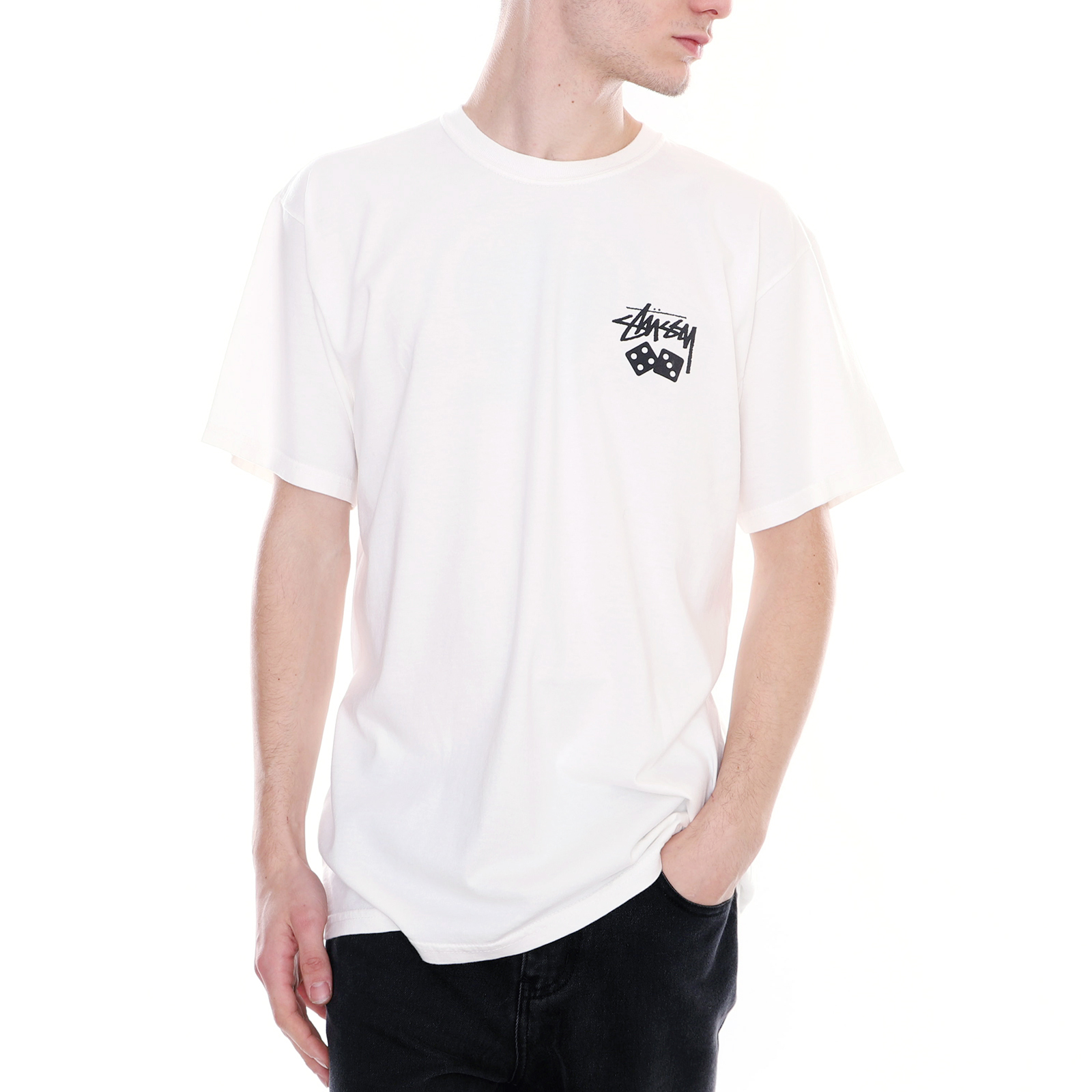c3e662a12 Stussy T-Shirt Dice Pigment Dyed Tee Natural White White   eBay