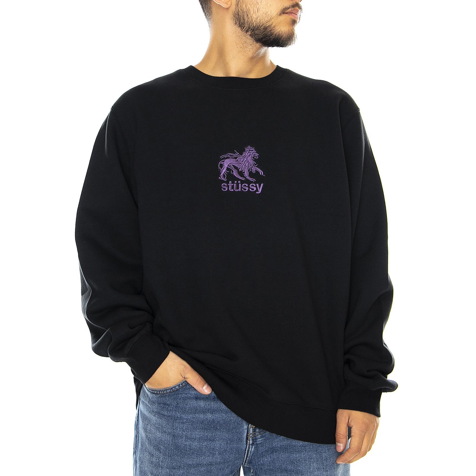 ästhetisches Aussehen klassisch USA billig verkaufen Details zu Stussy Lion Crew - Black - Rundhalsausschnitt Pullover Herren  Schwarz Schwarz