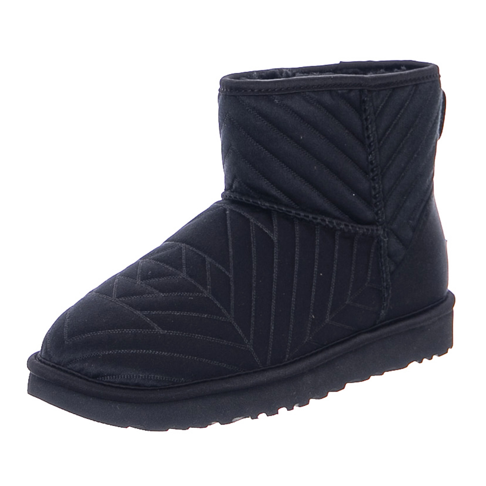 Ugg Classic Mini Quilted Satin Boot Black Womens Boots Black Ebay