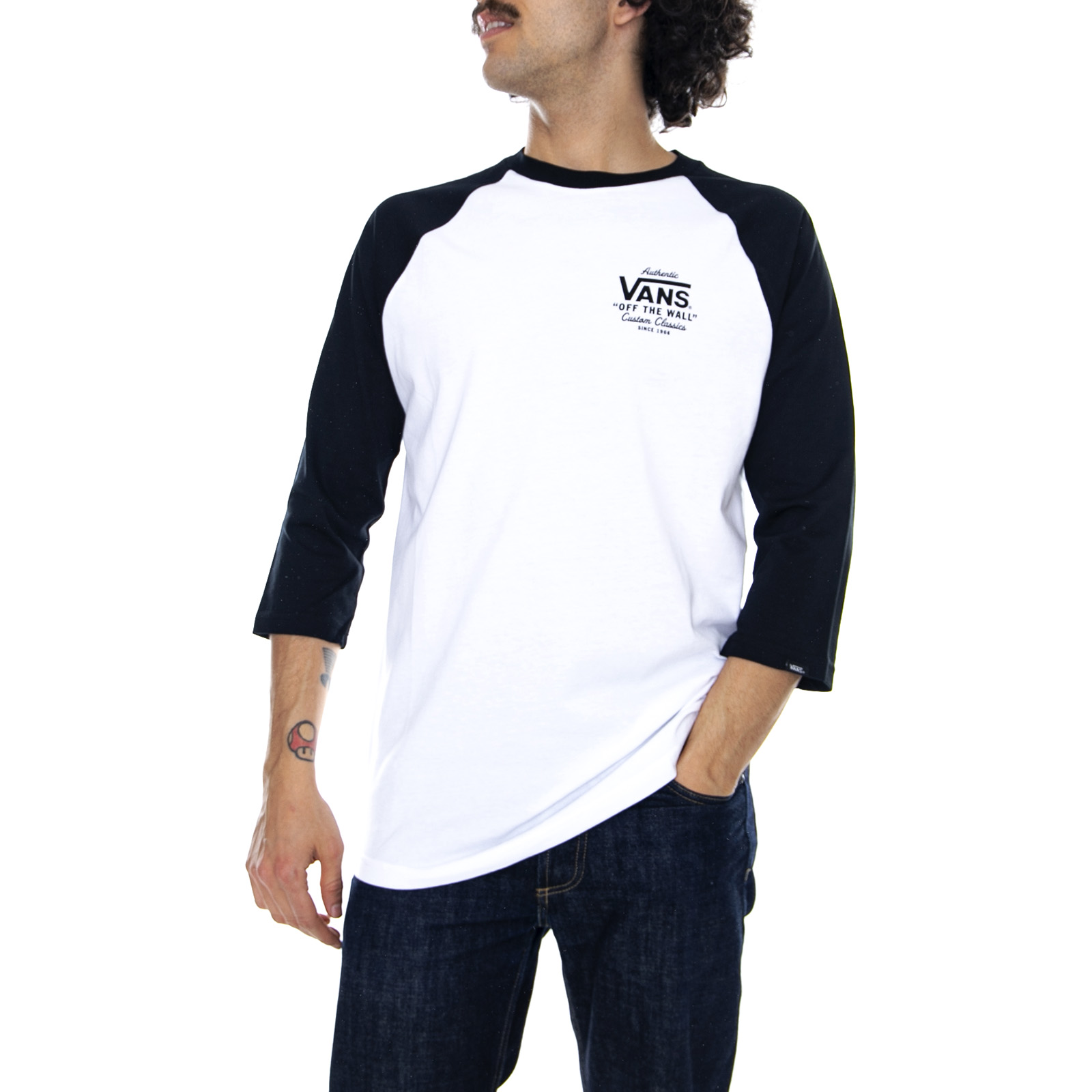 Detalles de Vans Mn Titular BlancoBlack Camiseta Mangas 34 Hombre Multicolor