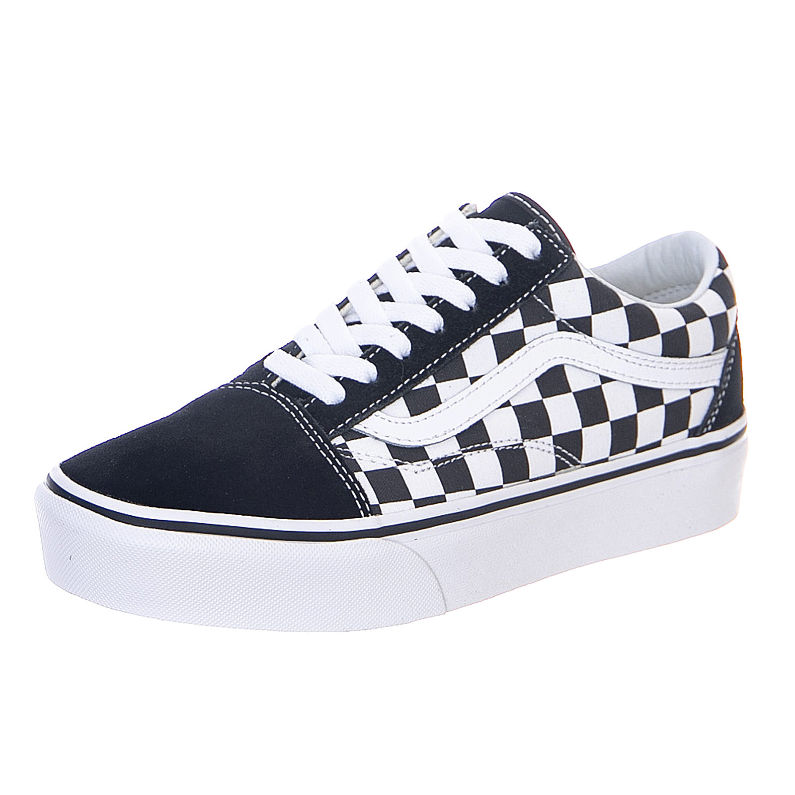 a9cd26650a80 Vans Checkerboard Old Skool Platform - Black True White - Sneakers  Stringate Uomo Nero