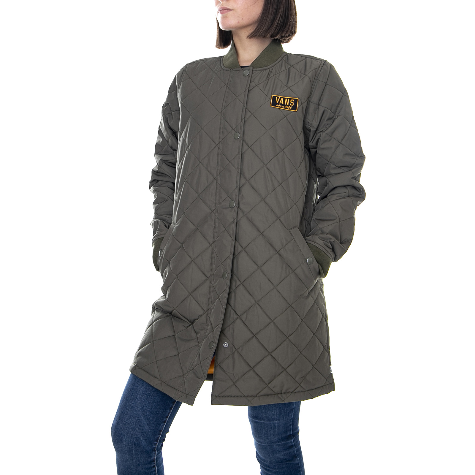 Details about Vans WM Boom Boom Quilted Grape Leaf Jacket Light Woman Green