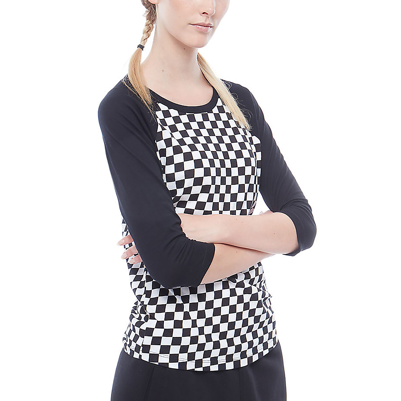 6d6df73985ad Vans T-Shirt WM Checks Raglan Checkerboard Black | eBay