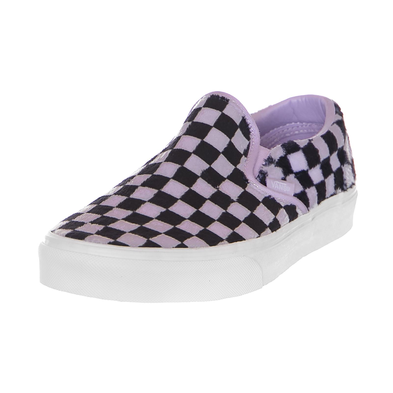 Détails sur Vans Sneakers Classic Slip-On (Furry Check) Pastel Lilac Black Multicolor