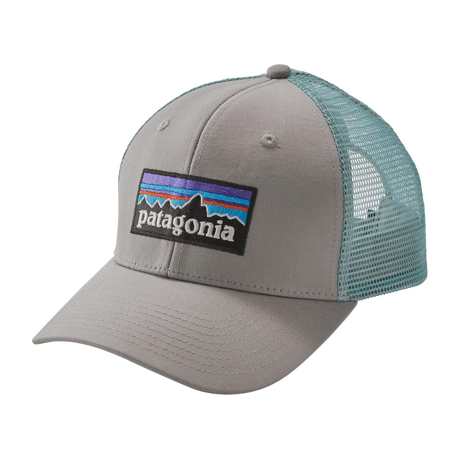 65d4665901c1d5 Patagonia P-6 Logo Trucker- Hat Drifter graue w/Dam blau Kappe ...