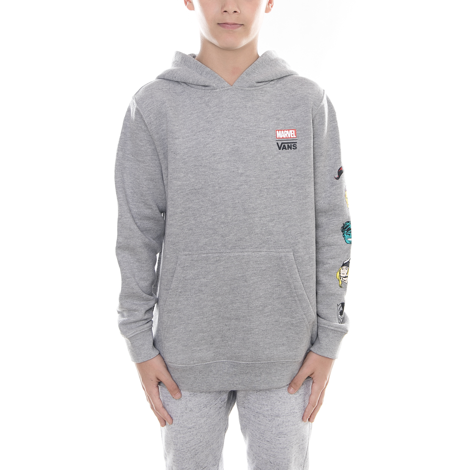 Details about Vans Sweatshirts by Vans x Marvel Cha Cement Heath Grey