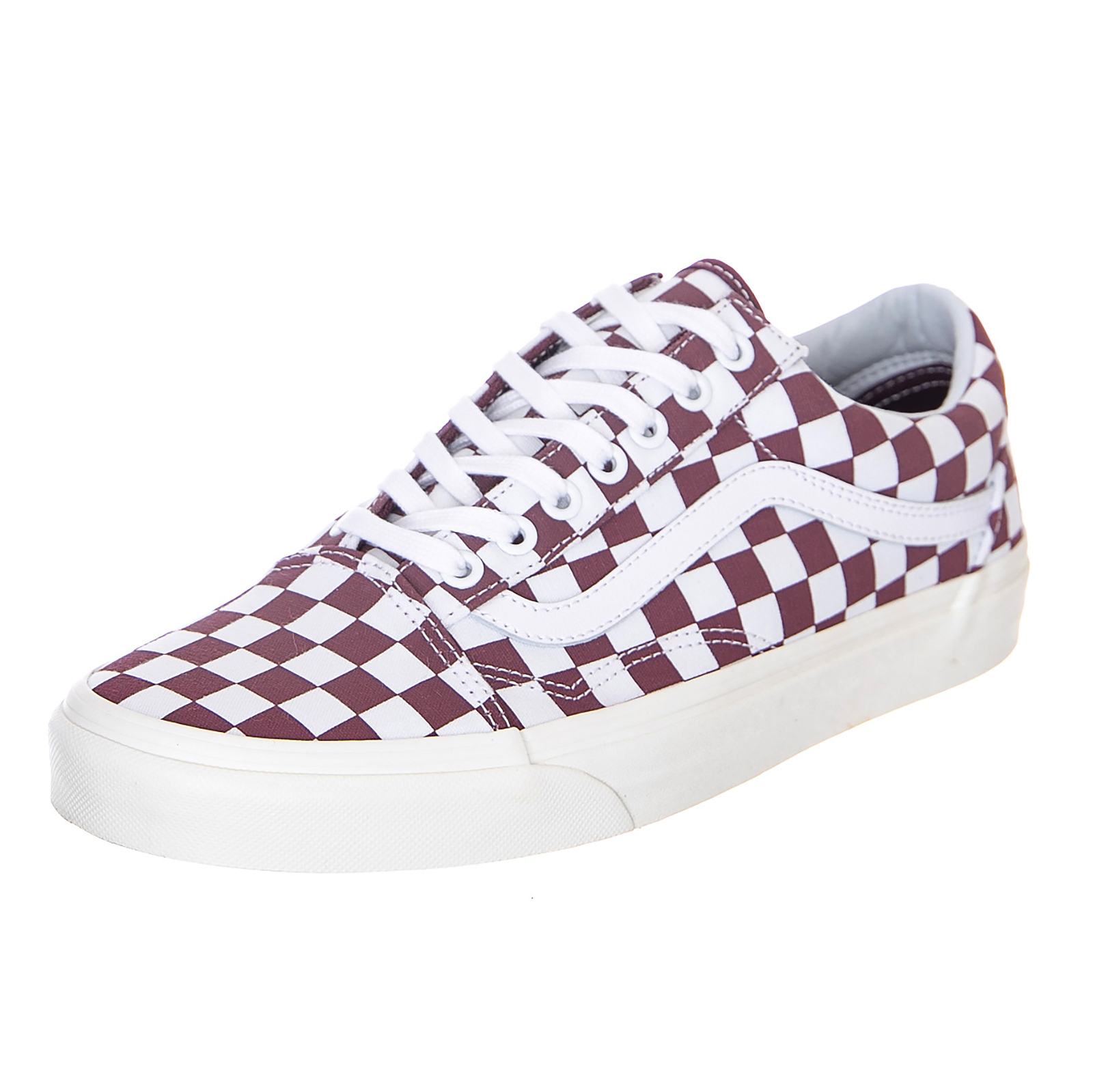 Details about Vans Old Skool Checkerboard Port RoyaleMarshmallow Sneakers Low Man Burgundy