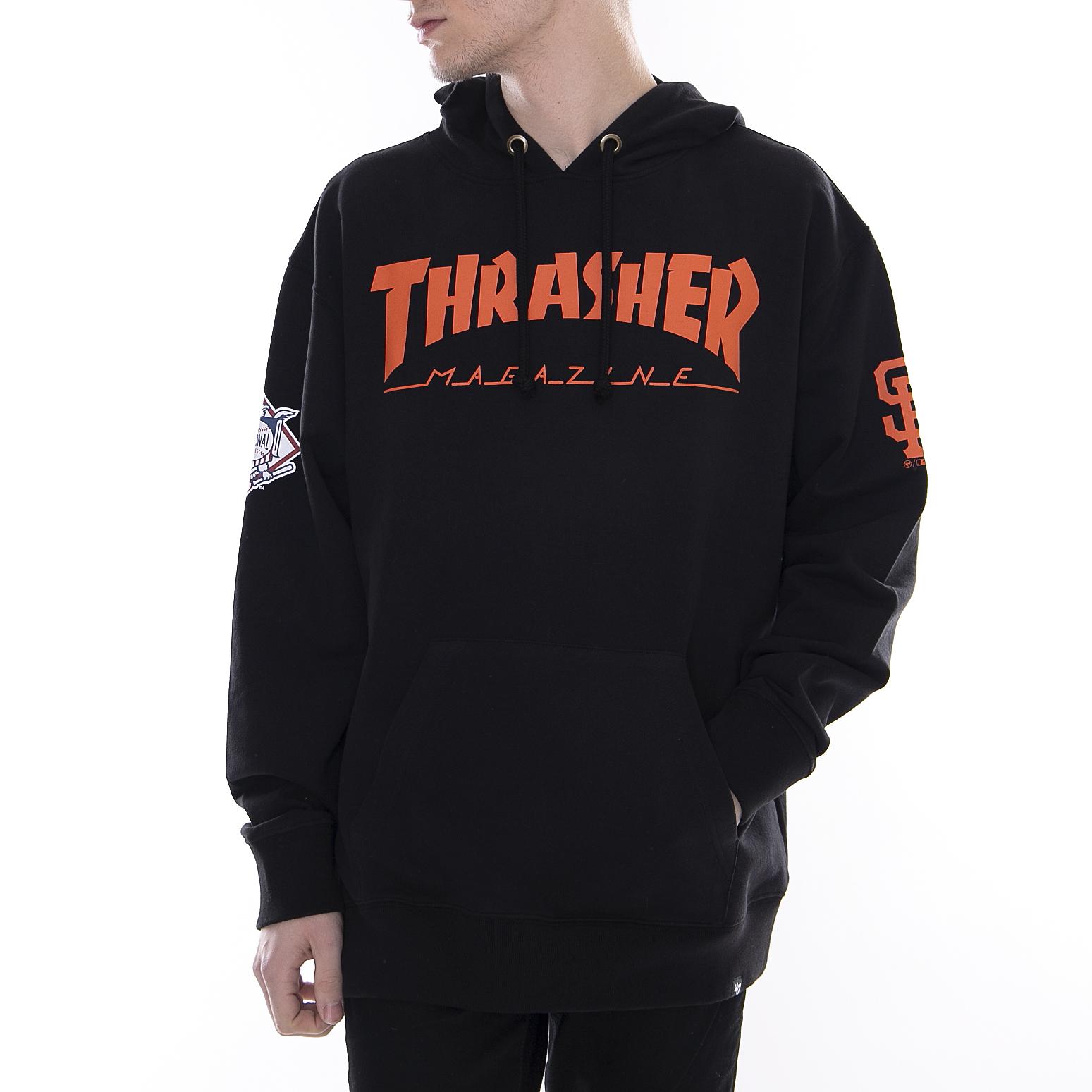 L Thrasher STOCK Logo Pullover Felpa Con Cappuccio – in Nero Taglia S XL M
