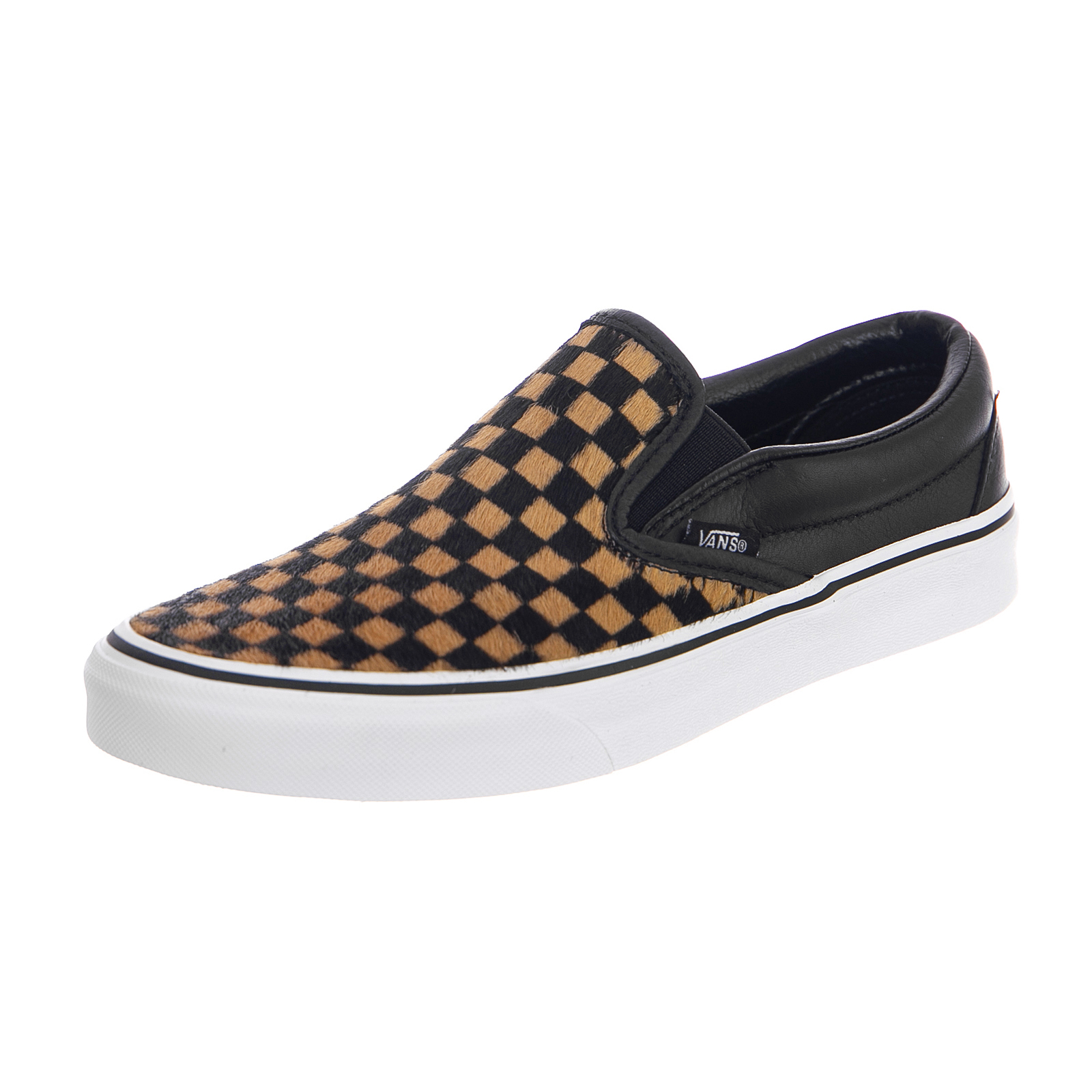 checkerboard vans brown