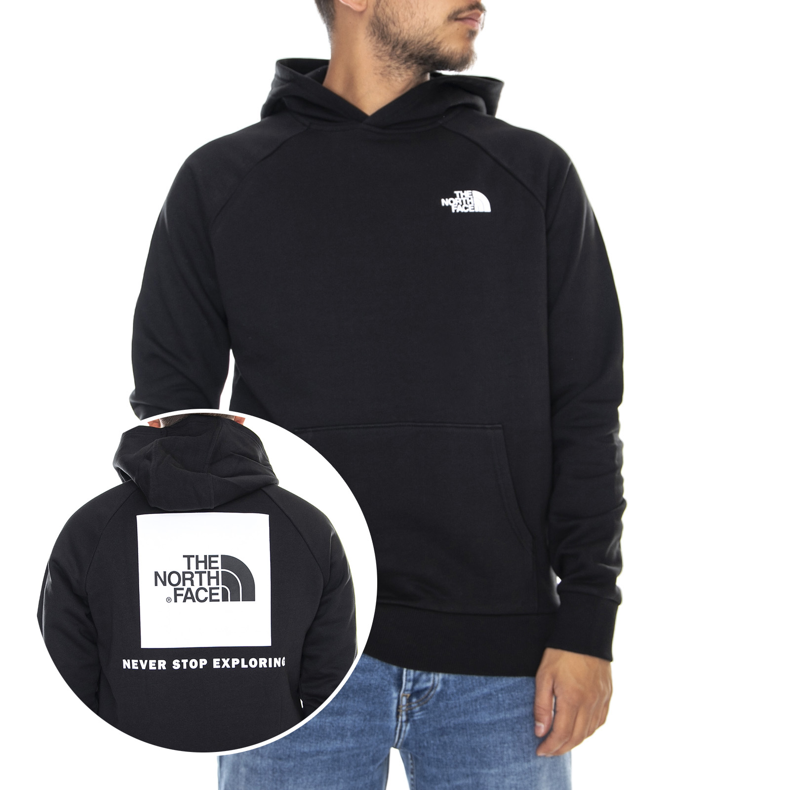 Felpa con cappuccio uomo The North Face nero