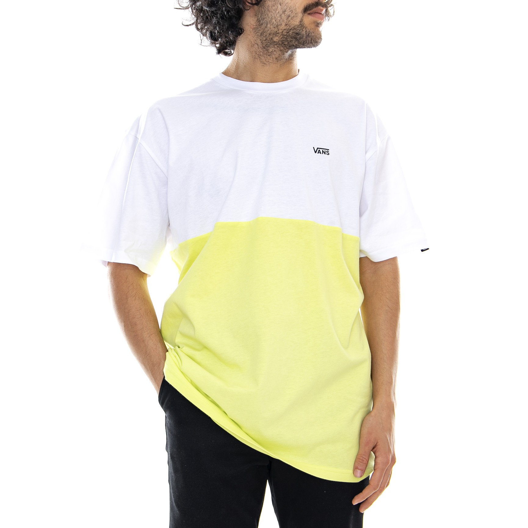 f4cdec1e96 Vans Mn Colorblock Tee White Sunny Lime - Magliett Girocollo Uomo Bianco