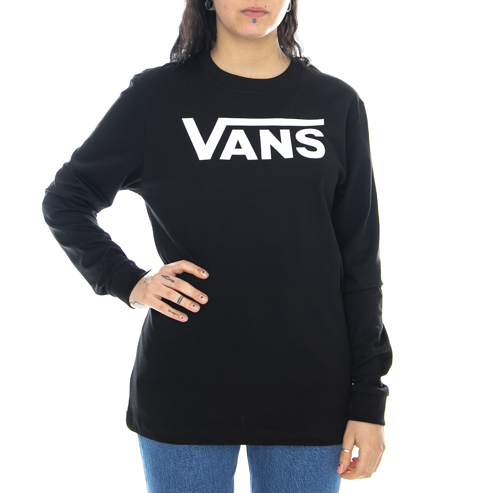 Vans wm flying v ls tee - black - maglietta maniche lunga donna ...
