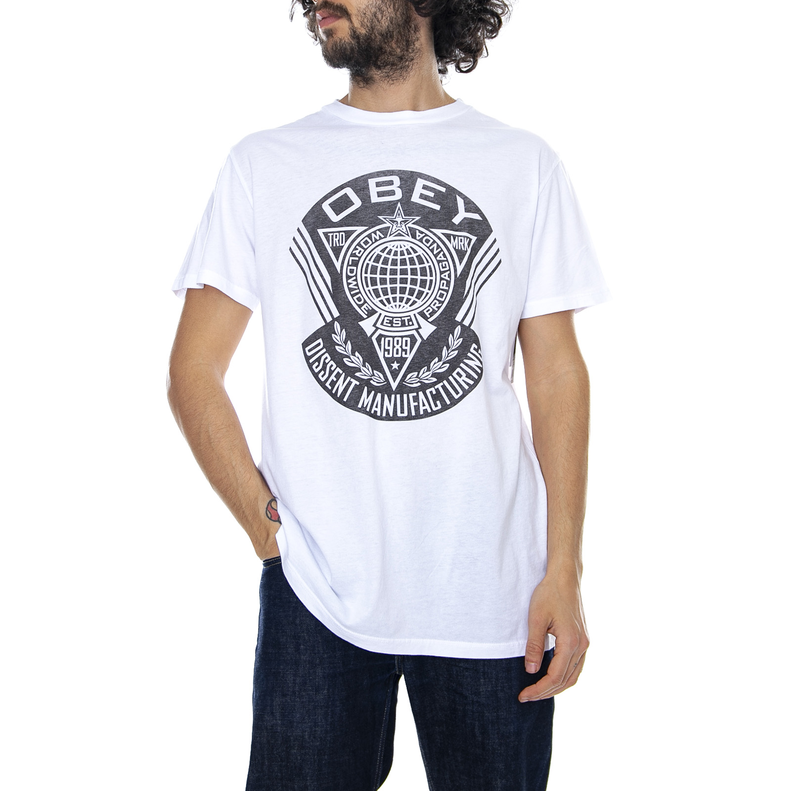 8dd8c6837 Obey World Prop Badge Superior - White - T-shirt Crew-neck Man White ...