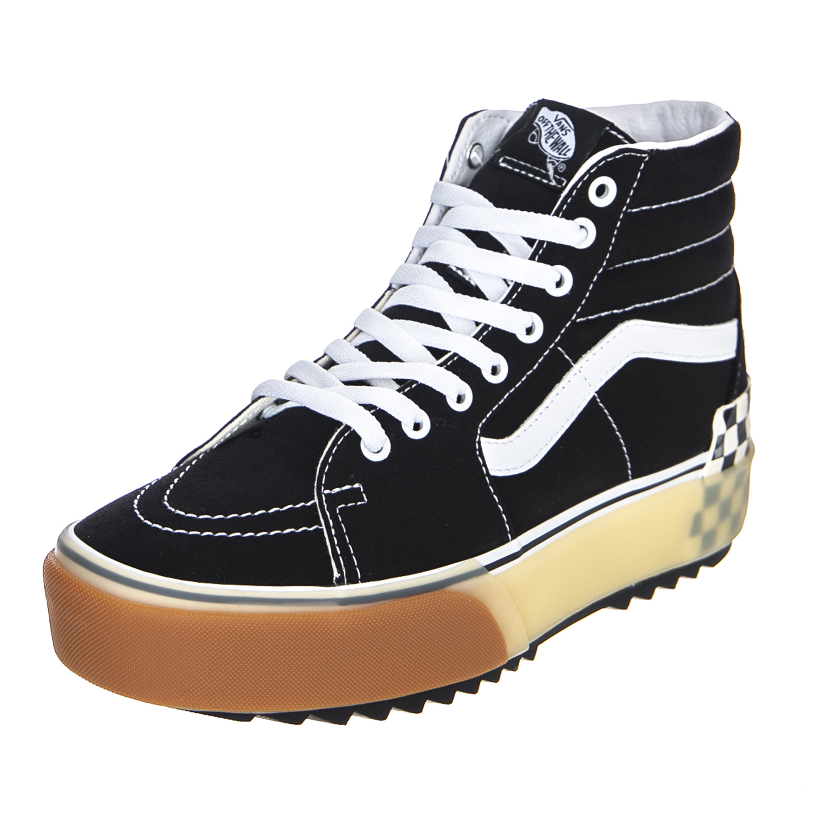 Details about Vans Ua Sk8 Hi Stacked BlackChecherboard High Sneakers MensWomens Black