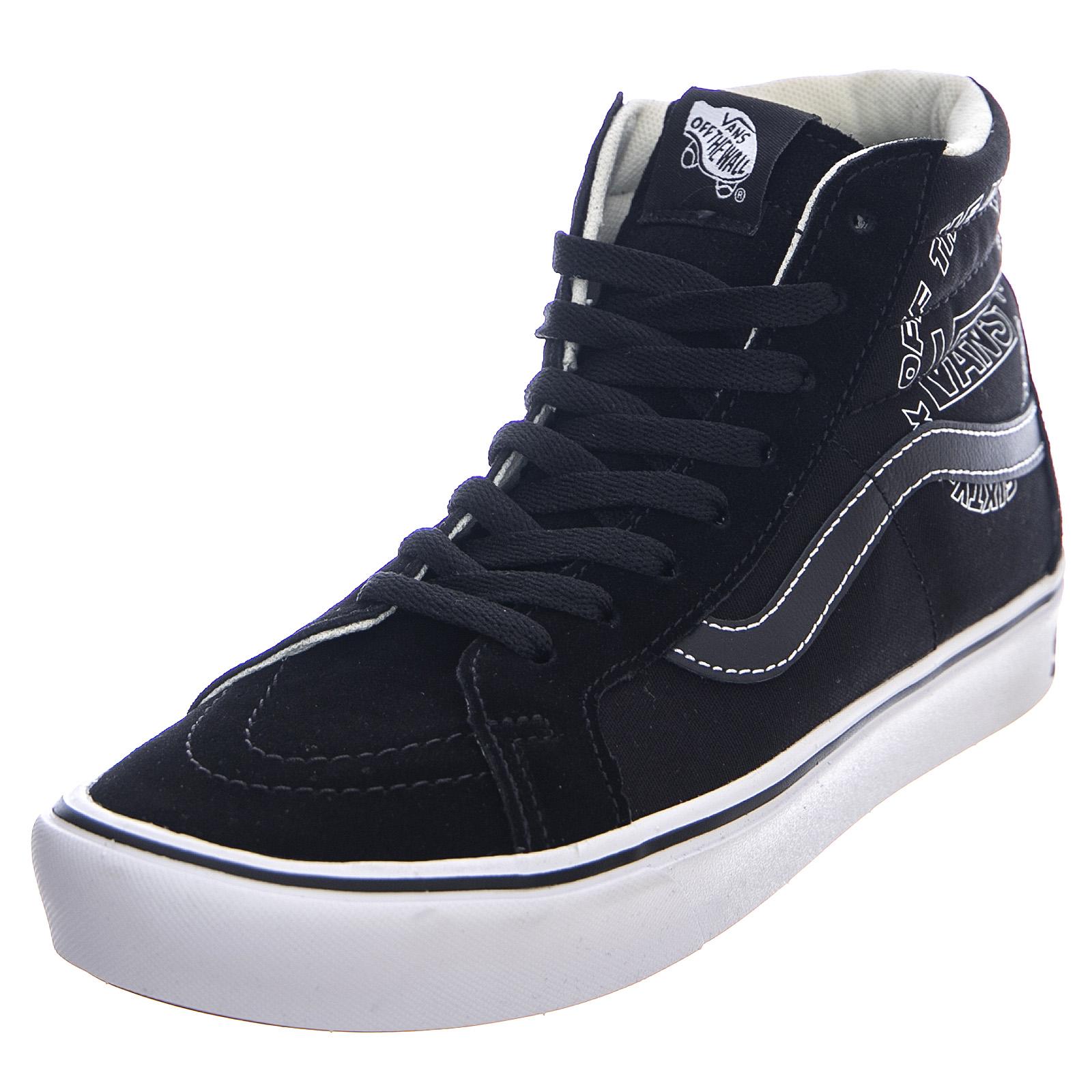 Dettagli su Vans comfycush sk8 hi distorted black true white scarpe alte uomo nero