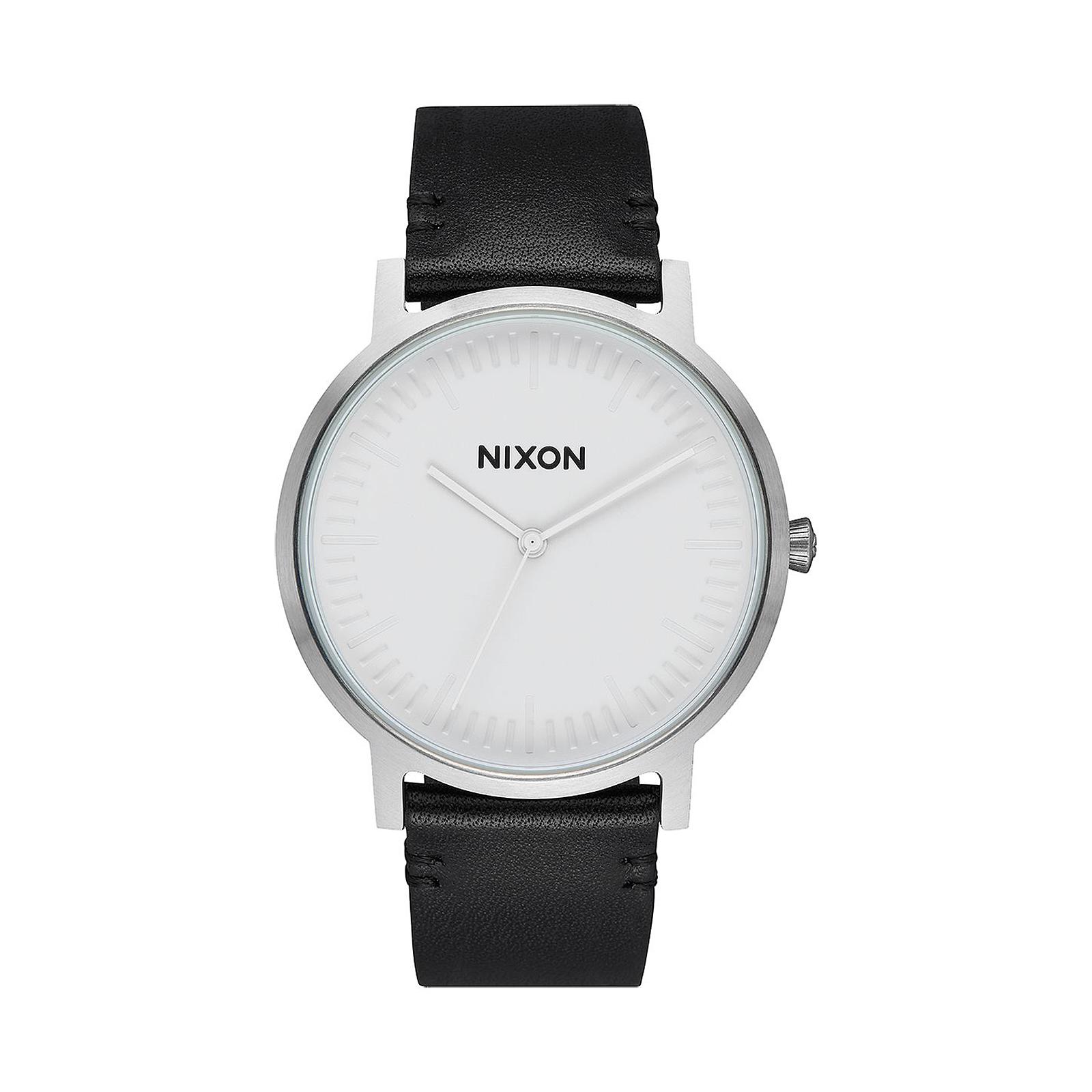 foto ufficiali cc1f4 1ddb8 Dettagli su Nixon Orologi Porter Leather White / Silver / Black, 40Mm Bianco