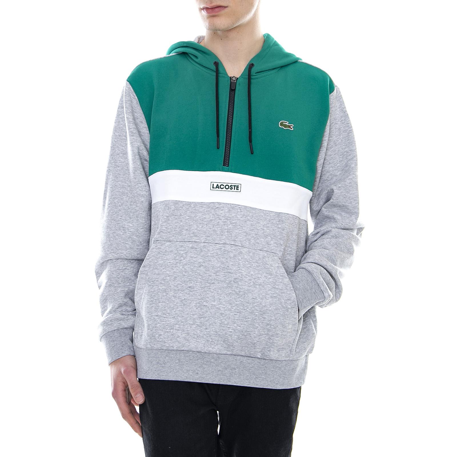 068d52cc807c52 Lacoste Logo Hooded Sweatshirt - Green/Grey - Felpa Con Cappuccio Da Uomo  Grigio
