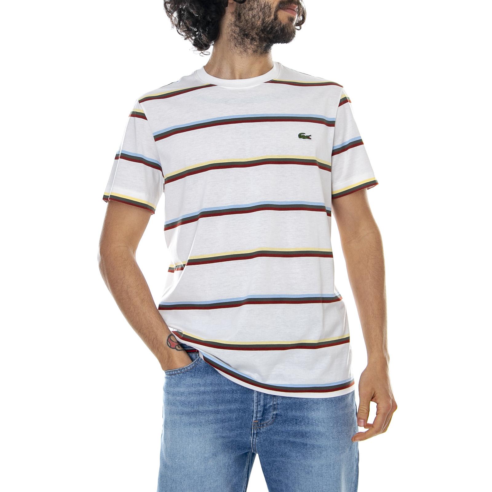 1c79faf700 Details about Lacoste Logo Stripe Tee - Flours White/Multicolour - T-Shirt  Crew-Neck Man