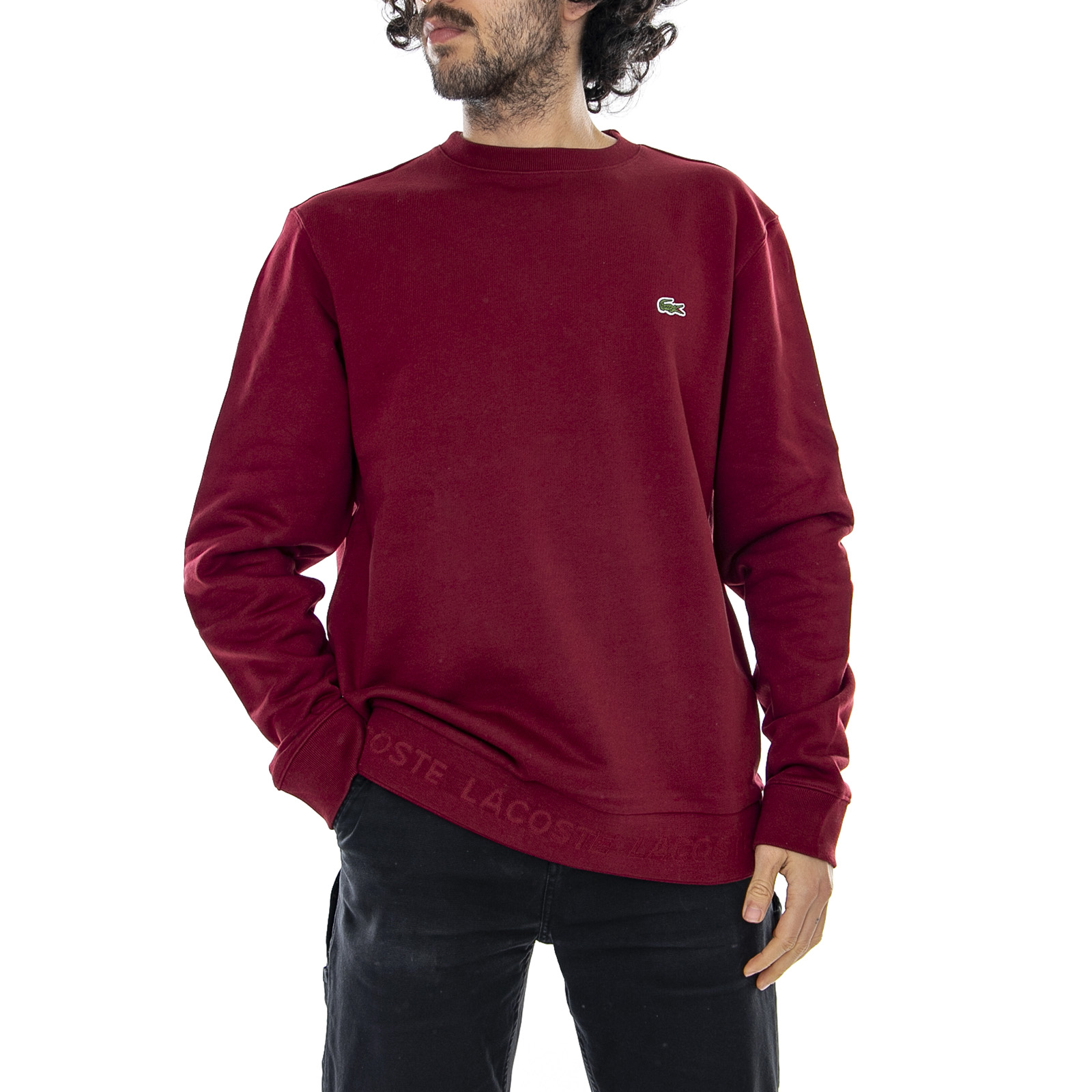 info for 1510b 59fd1 Dettagli su Lacoste Logo Sweat - Bordeaux - Felpa Girocollo Uomo Bordeaux