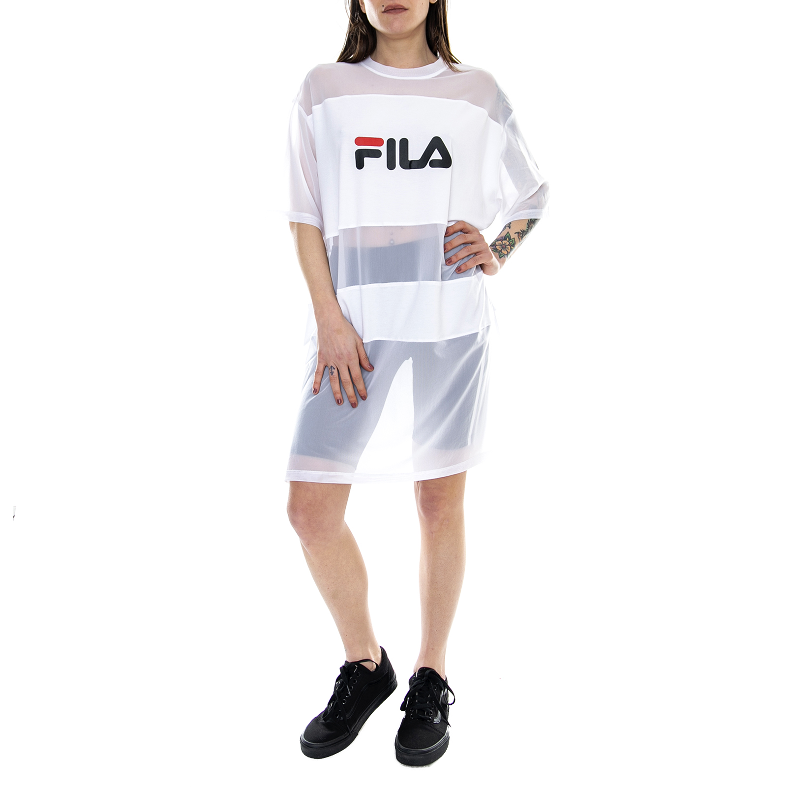 01ed7636da Details about Fila T-Shirt Women Emily Tee Dress Bright White