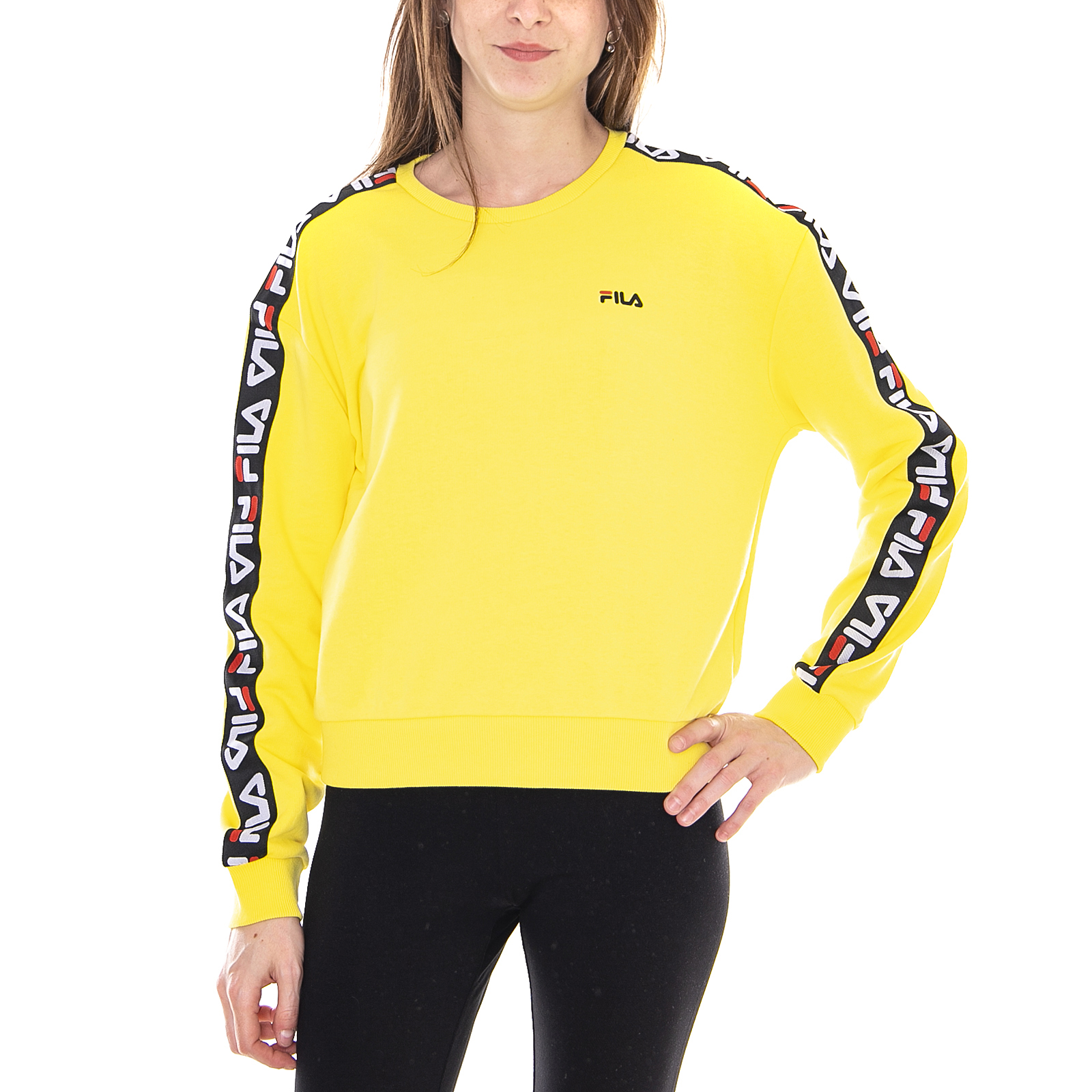 fila sweatshirts femmes tivka crew sweat vibrant jaune jaune ebay. Black Bedroom Furniture Sets. Home Design Ideas