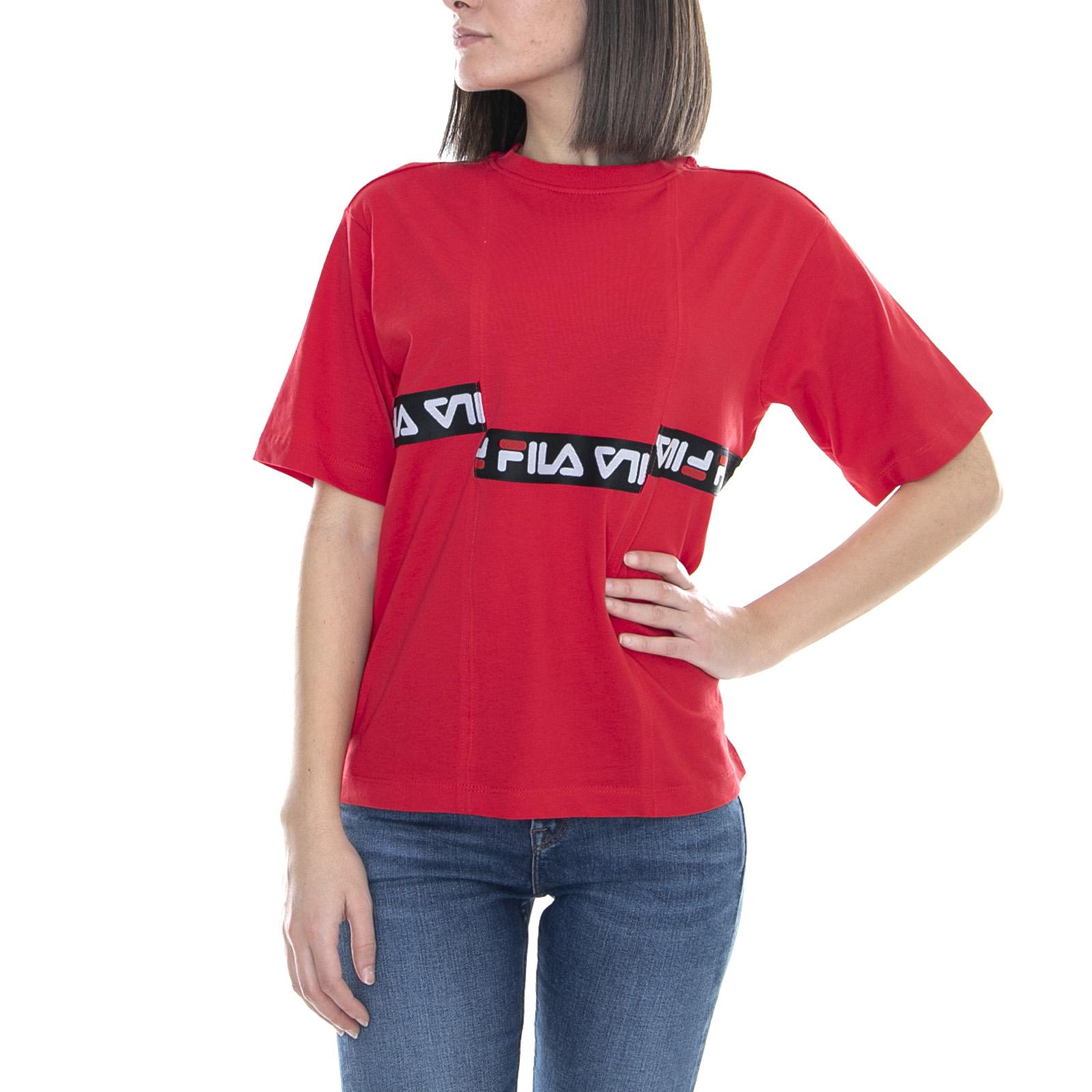 True Women Maglietta Red T Shirt Corta Tee Donna Fila Manica Charo pSUzVM