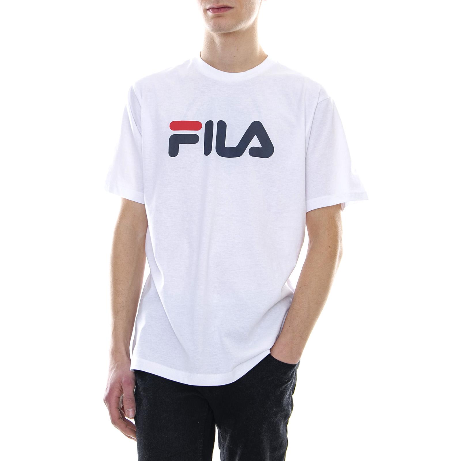 De Tee Bright Detalles Fila Pure Blanco Camiseta Cuello Clásico Redondo Hombre 9HeW2IYEDb