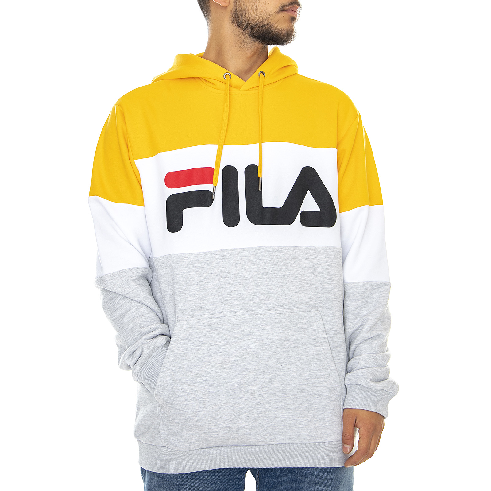 Dettagli su Fila Mn Night Hoody Light Melange Grey Bros Bright White Citrus Felpa