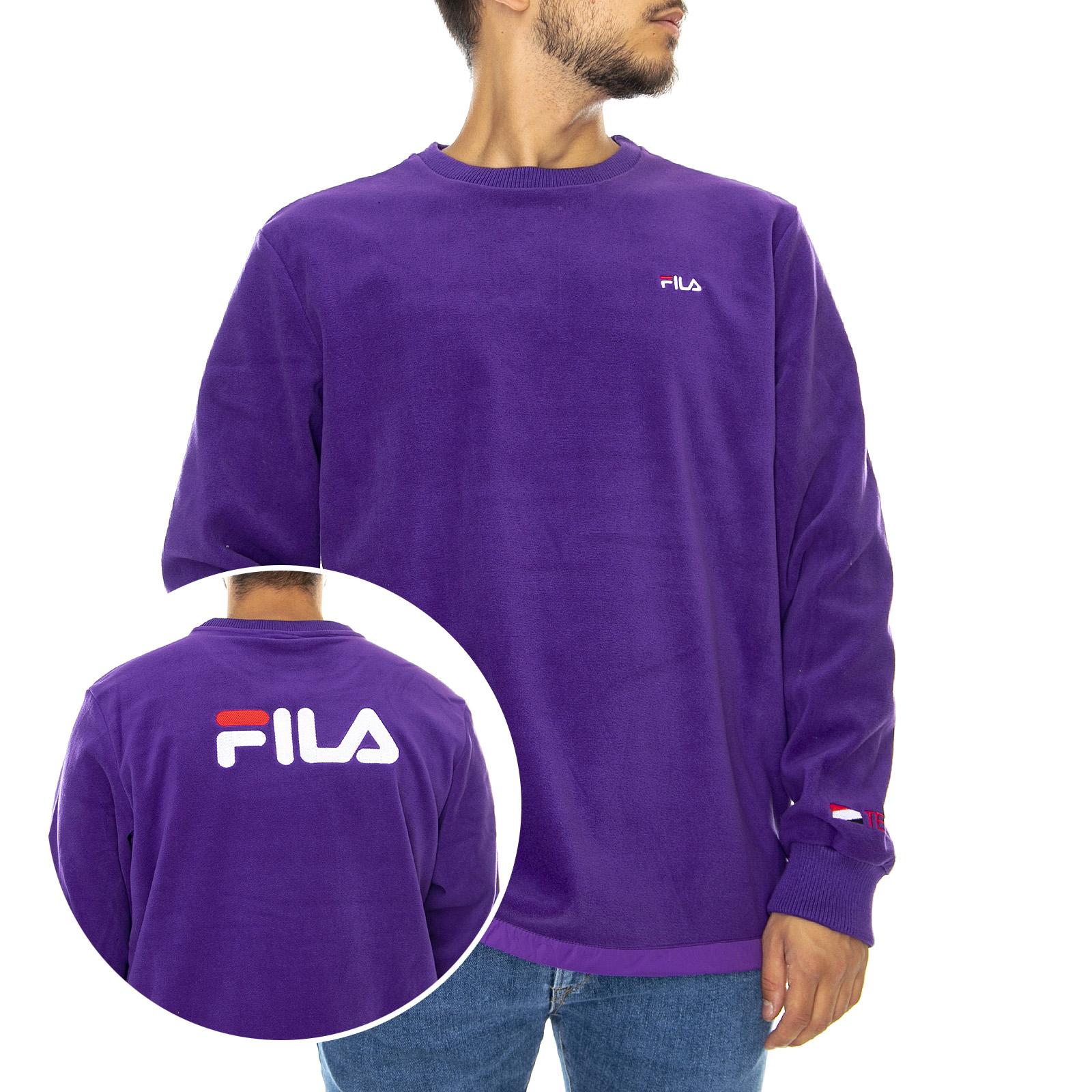 Fila Felpa Palestra Girocollo Logo Viola Uomo Acquista