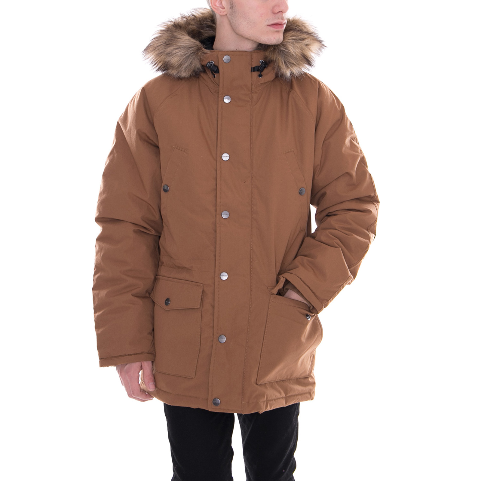 8cacb117a47 Details about Carhartt Jacket Trapper Parka Hamilton Brown/Black Brown
