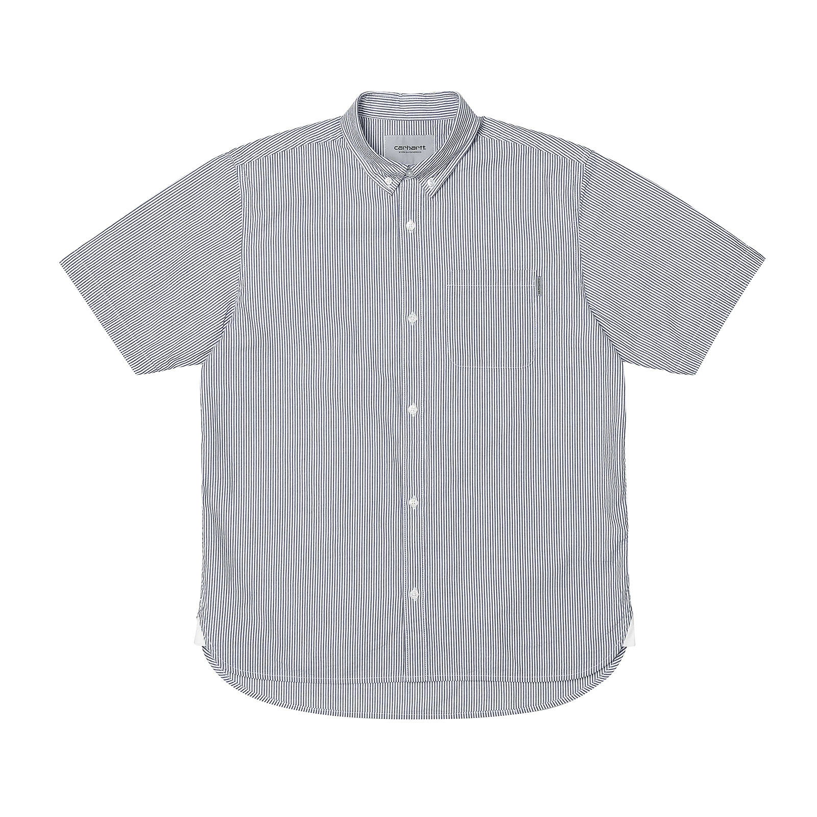 Carhartt Shirts S s Alder Shirt Alderstripe Stone bluee   White bluee