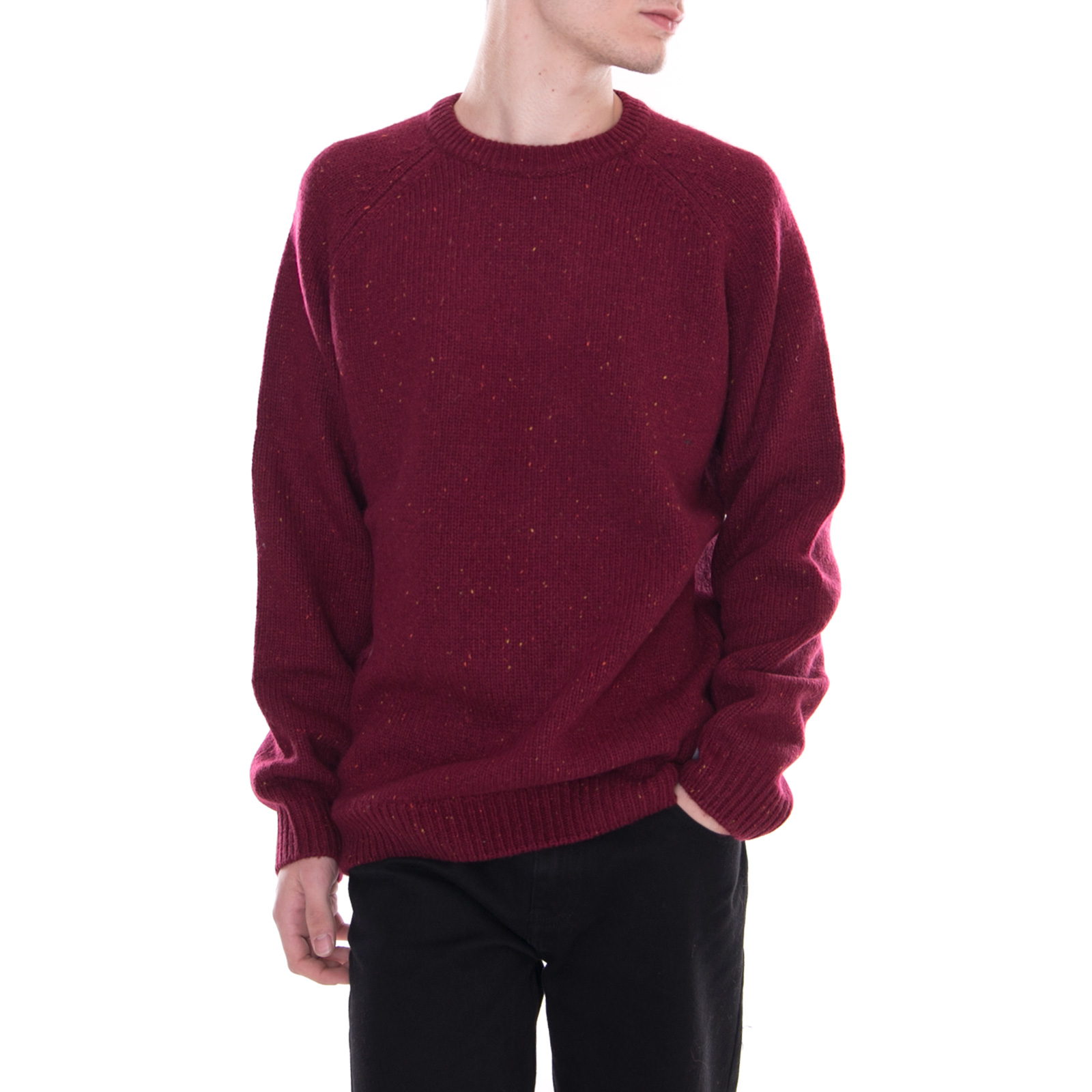 Carhartt Maglieria Anglistic Sweater Mulberry Heather Red Bordeaux