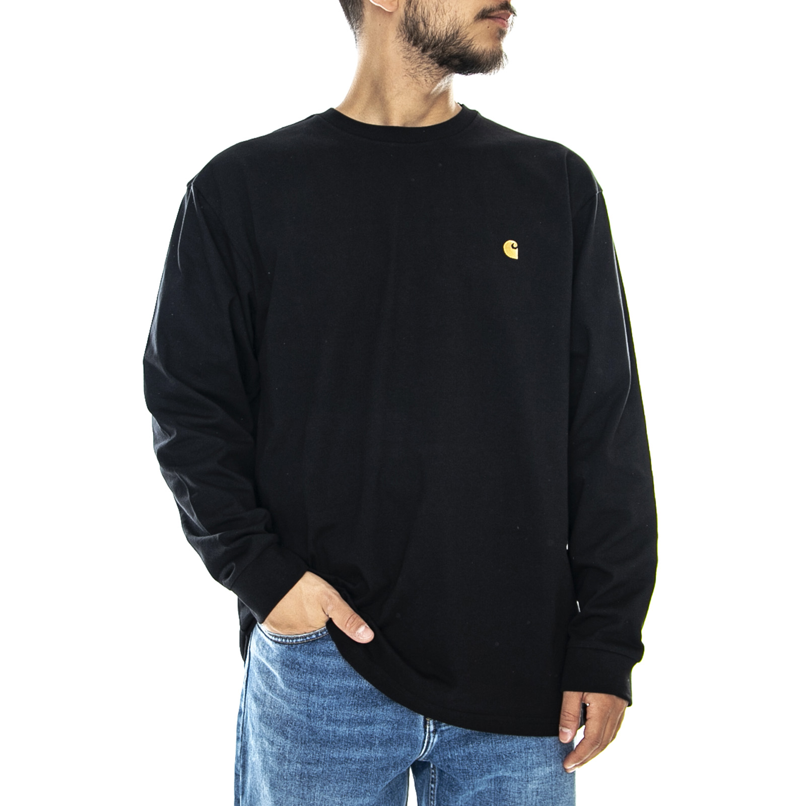 taille 40 948db fb747 Détails sur Carhartt Chase Ls Tee - Black / or - T-Shirt Manches Longues  Homme Noir