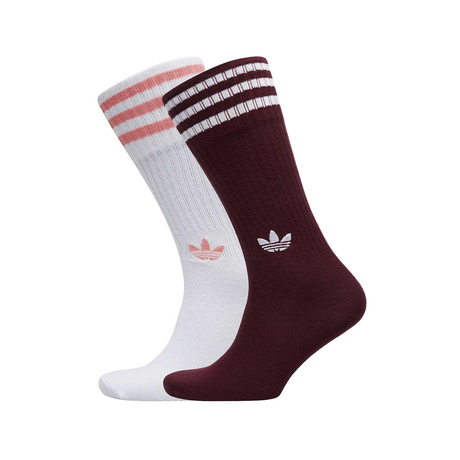 b5e30d62e Adidas Socks Solid Crew Maroon Burgundy/White Multicolour   eBay