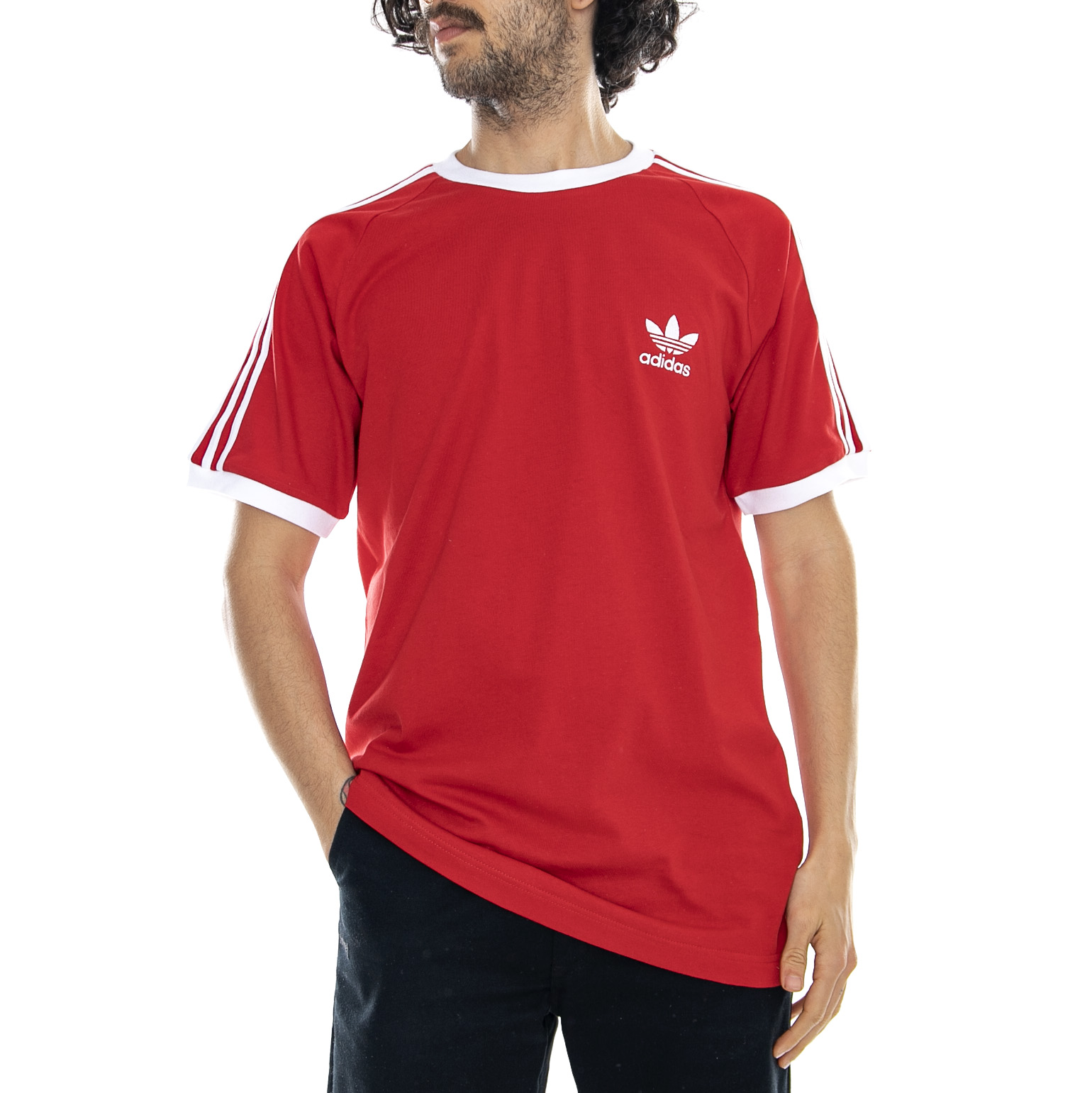 2e9449b7 Details about Adidas 3-Stripes Tee Red - T-shirt Crew-neck Man Red