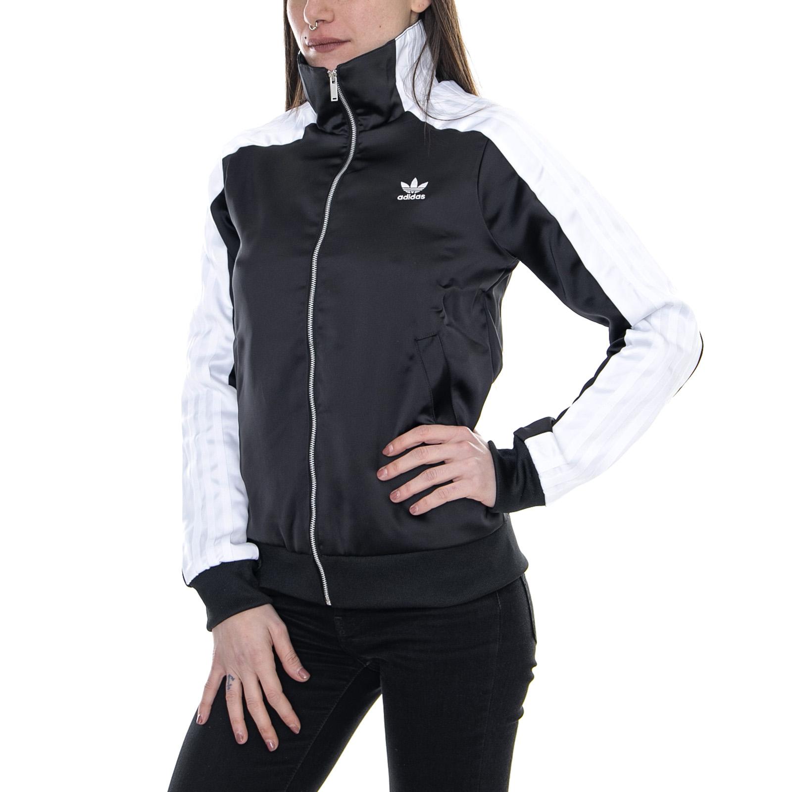 a basso prezzo 70b58 3ce87 Dettagli su Adidas Track Top Black - Giacca Leggera Donna Nero