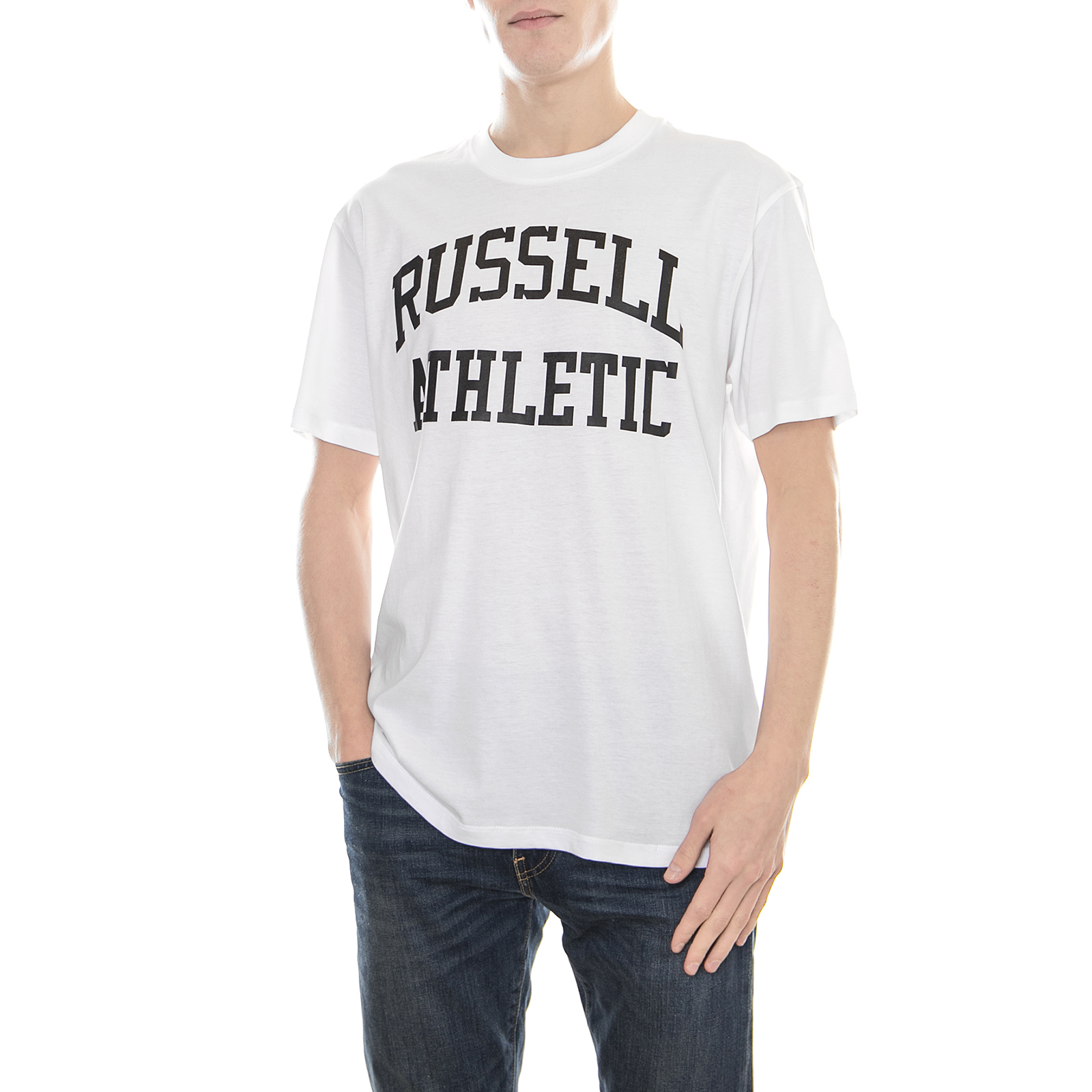 Russell Athletic T-Shirt S/S Crew Tee With Classic  Arch Logo Print Bianco