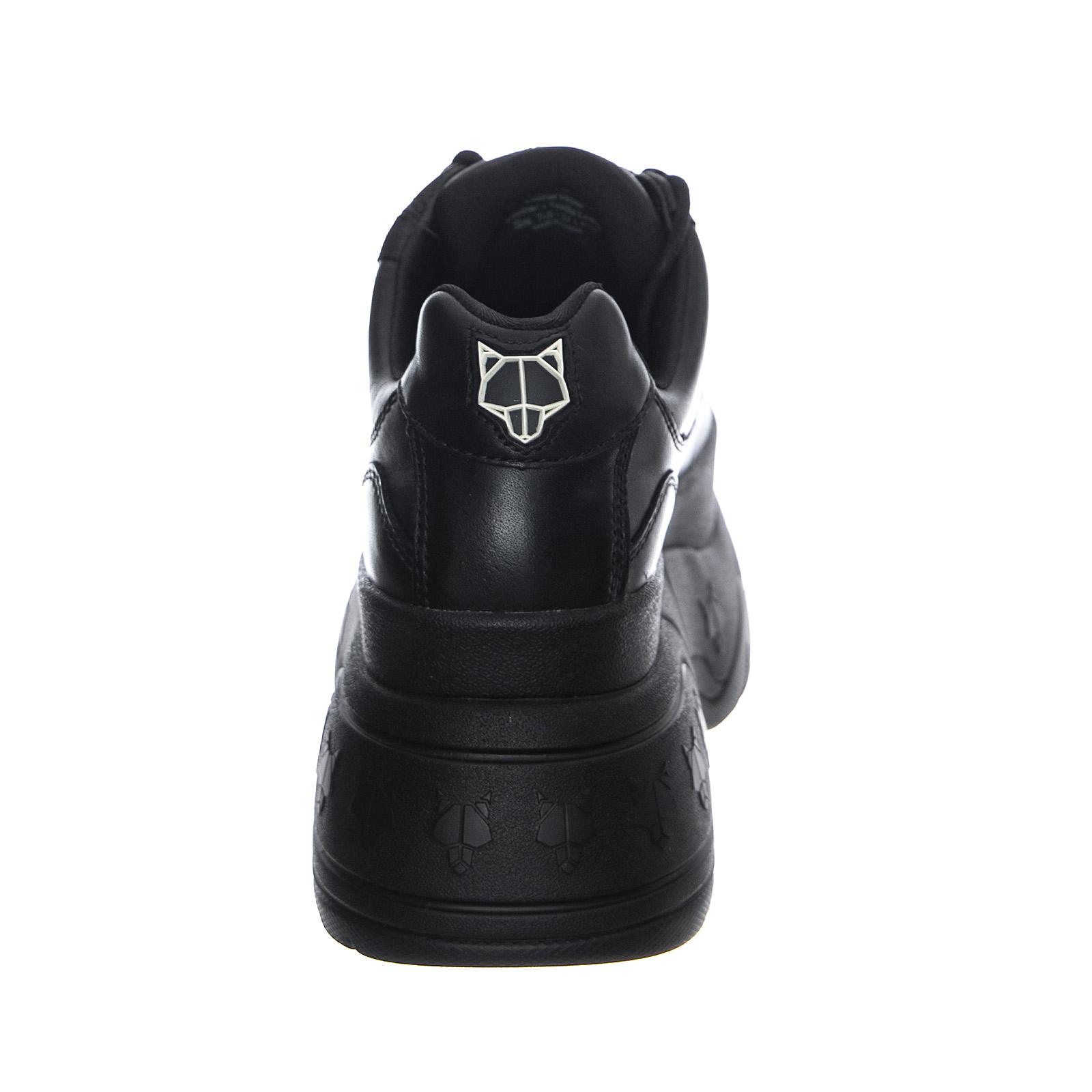 Naked Wolfe Patent Platform Low Top Sneakers In Black