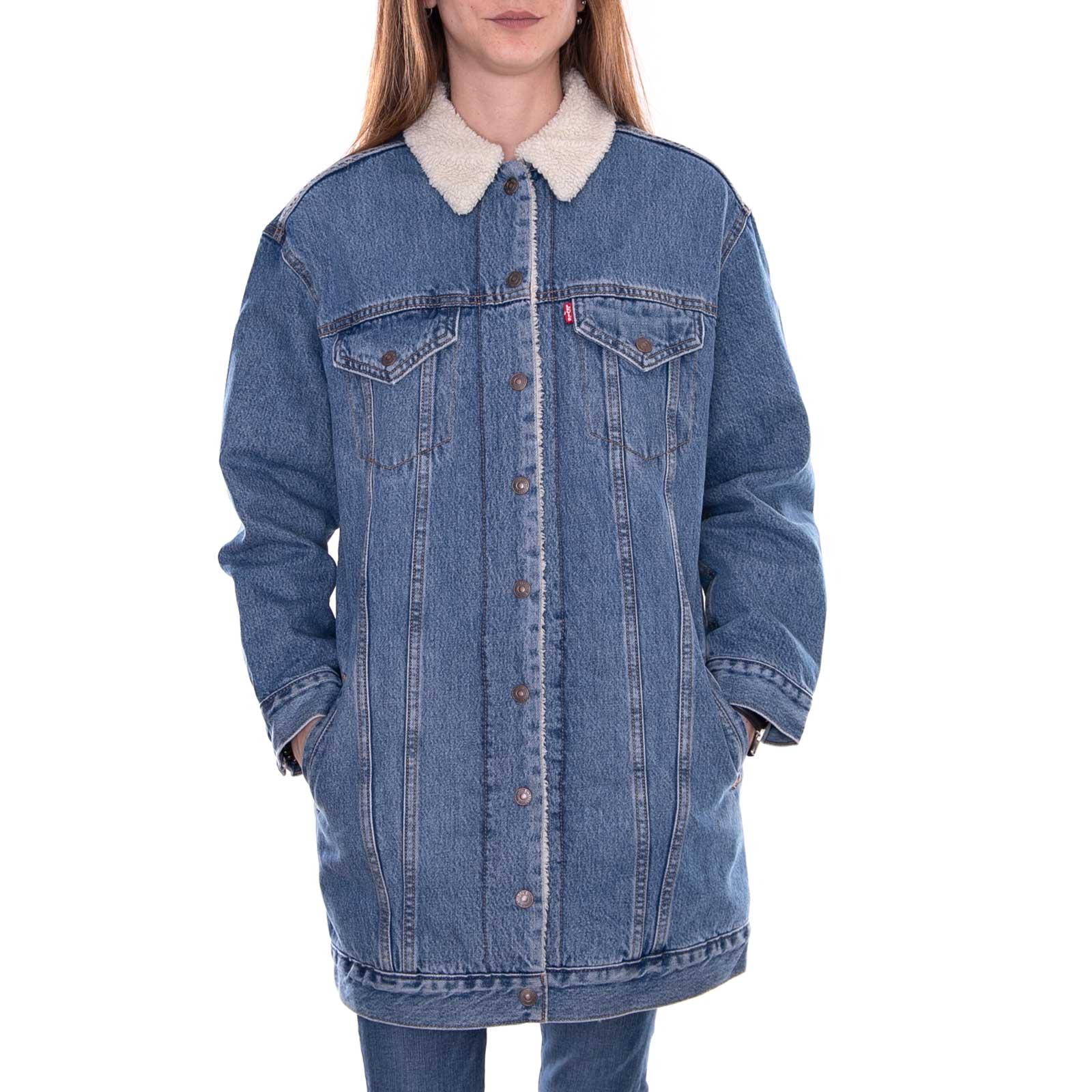 Détails sur Levis Vestes Allongé Sherpa Camionneur Love Cabane Bleu Jeans En Jeans