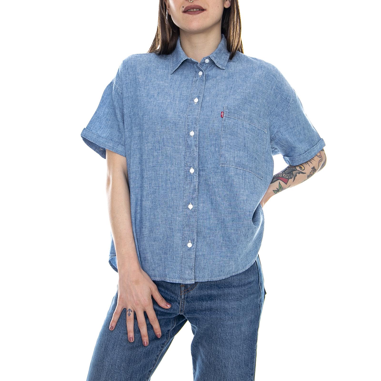 foto ufficiali 9fed2 a4839 Dettagli su Levis Maxine - Light Mid Blue - Camicia Maniche Corte Donna  Jeans / Denim