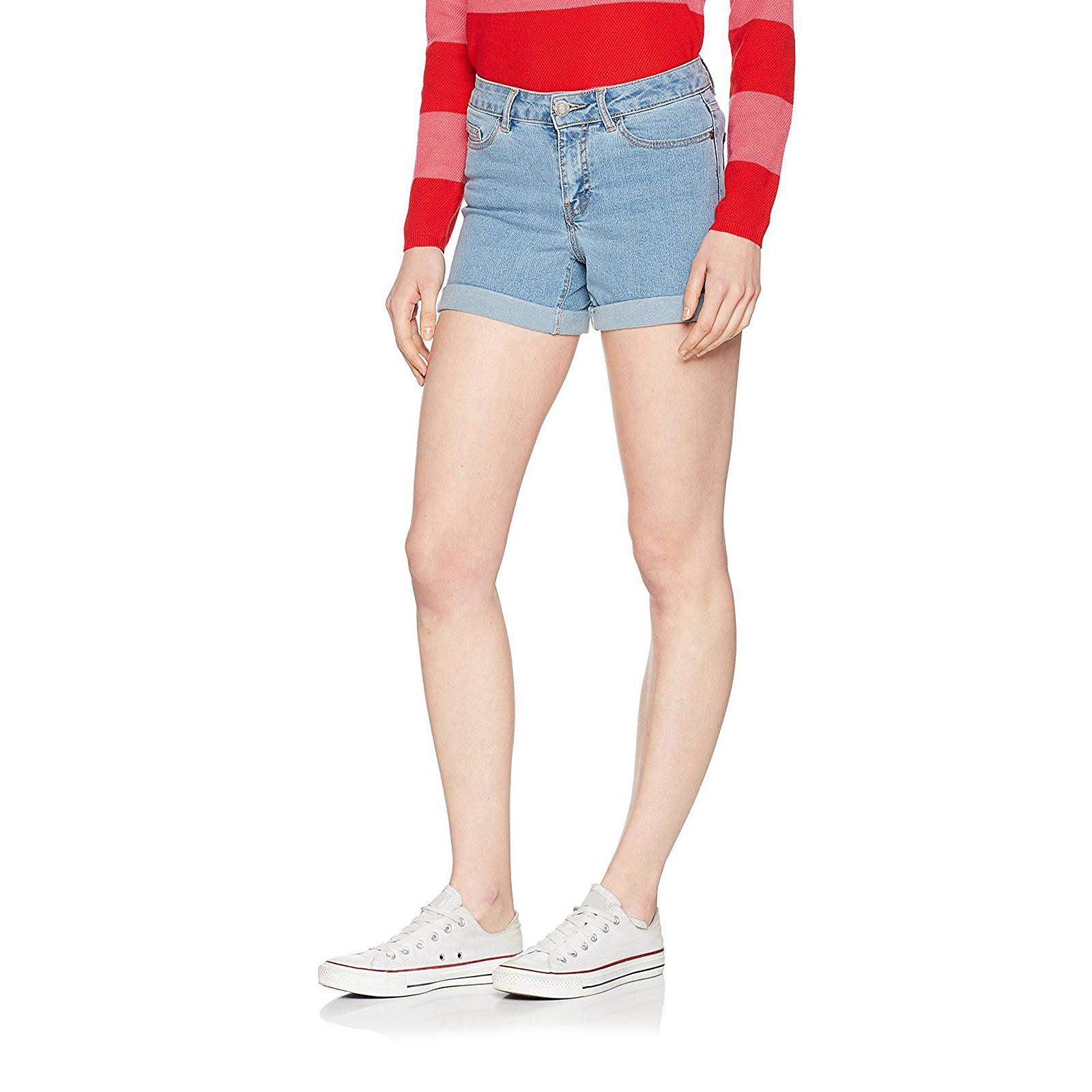 Dettagli su Noisy May Shorts Nmbe Lucy Nw Den Fold Shorts Gu818 Noos Light Blue Denim