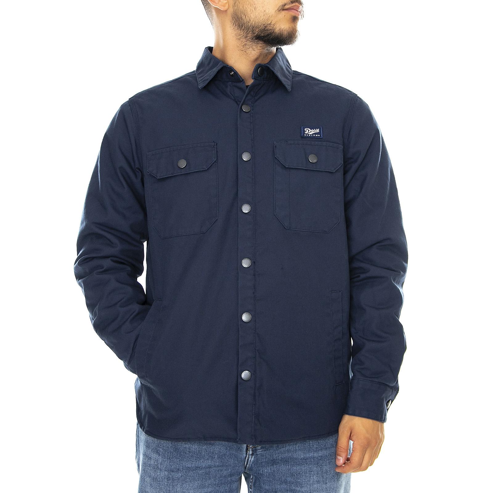 Jacket Mezzastagione Man Blue Deus Ex Machina Maxwell Padded Overshirt Blue