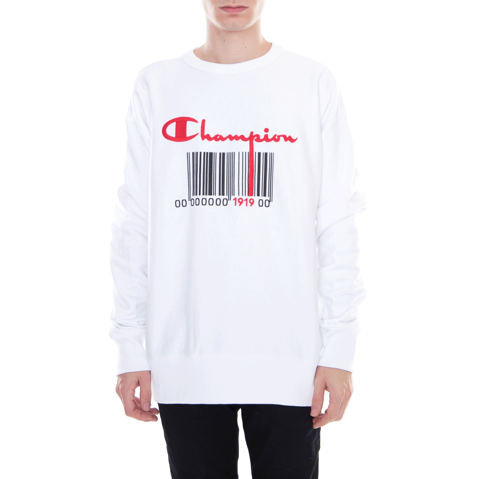 Felpe White Champion Sweatshirt Bianco Crewneck Rv4SSOaX